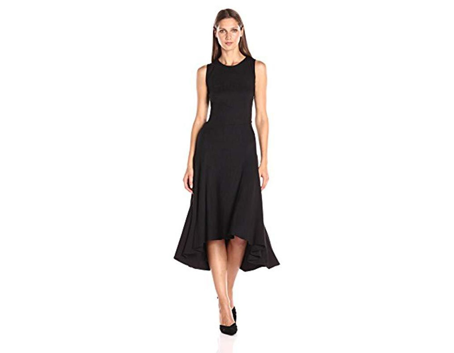 f421c4ba566e Nanette Nanette Lepore Knit Slvls Fit And Flair W/seamed Skirt & High-low  Hem in Black - Save 9% - Lyst