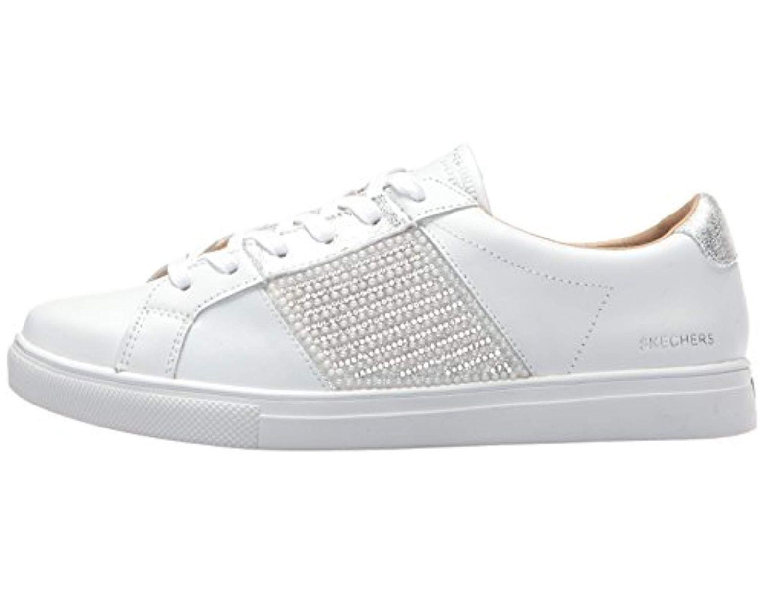 0c03e1c0de8a Lyst - Skechers Moda-pearl Rhinestone Quarter Fashion Sneaker in White -  Save 9%