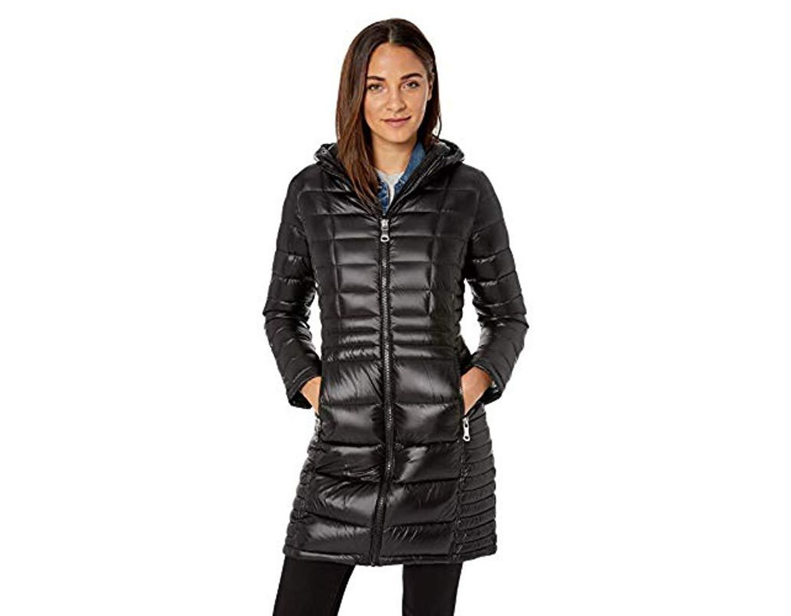 8e63565c0215 Calvin Klein Long Packable Down Jacket With Attached Hood in Black - Lyst