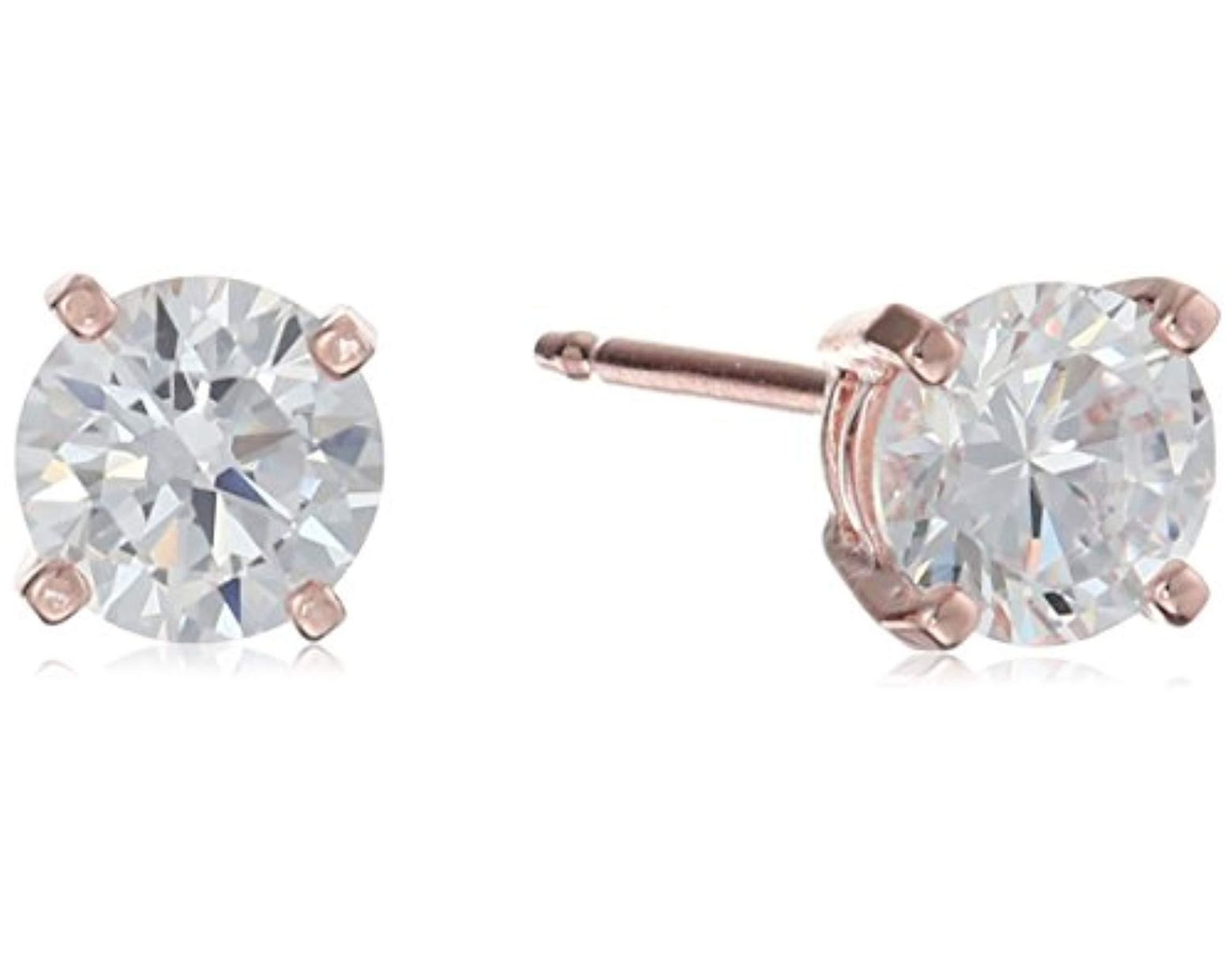 4fb28a273 Amazon Essentials Plated Sterling Silver Cubic Zirconia Stud Earrings (round  & Princess) in Metallic - Lyst