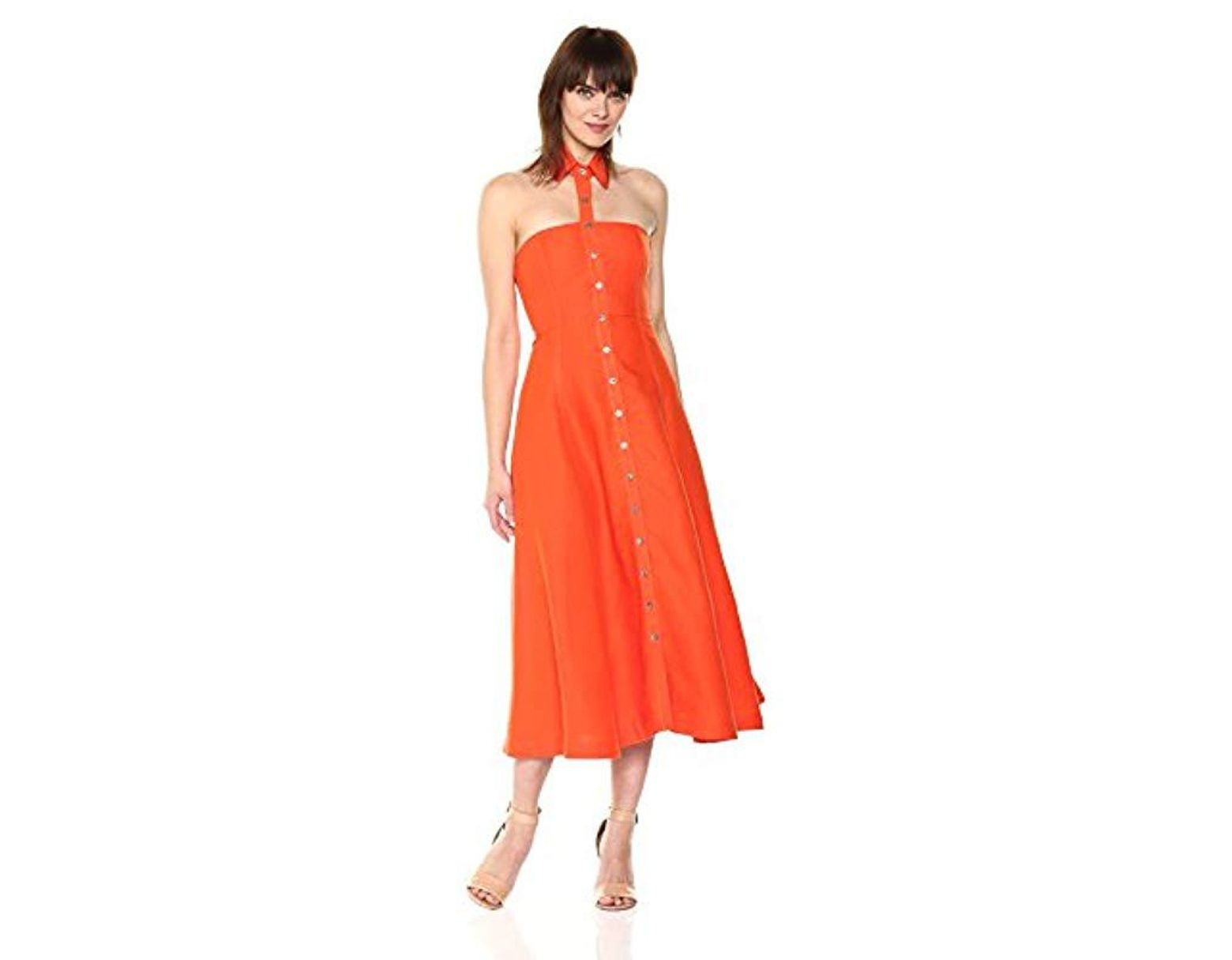 b779ee867a Mara Hoffman Veronique Button Up Floating Collar Midi Dress in Orange -  Save 58% - Lyst