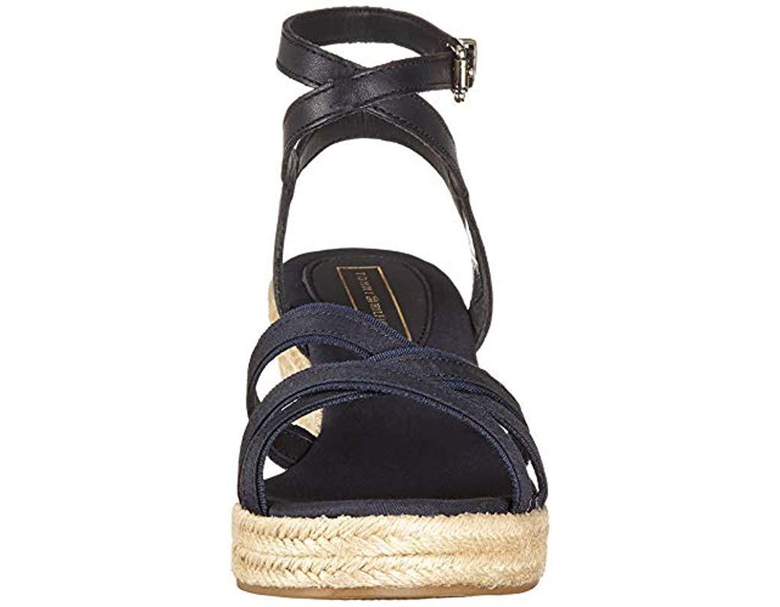 0c6d9c31e Tommy Hilfiger Iconic Elba Corporate Ribbon Platform Sandals in Blue - Lyst