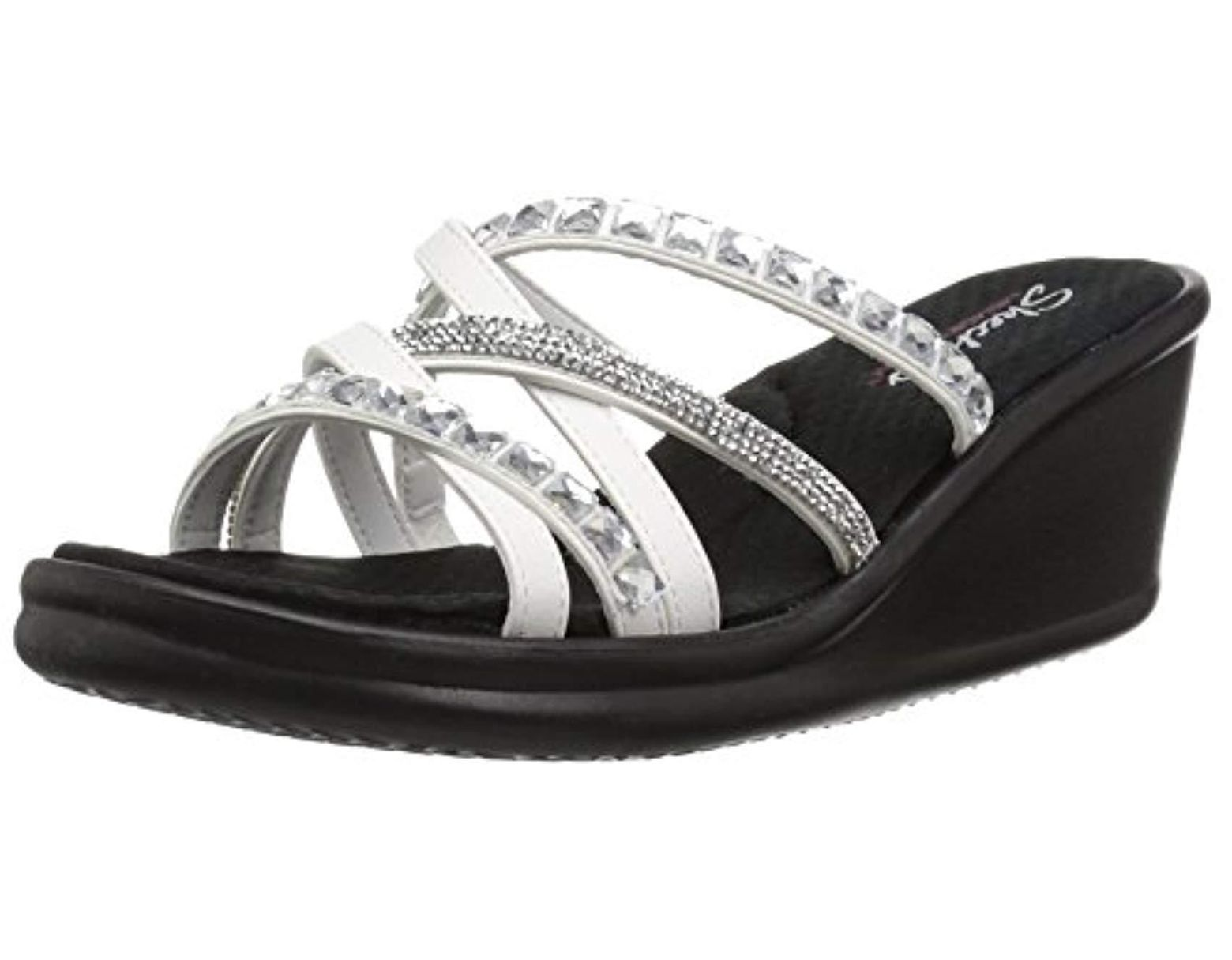 118a32f6a71a Skechers. Women s White Rumblers-glass Flowers-rhinestone Multi-strap Slide  ...