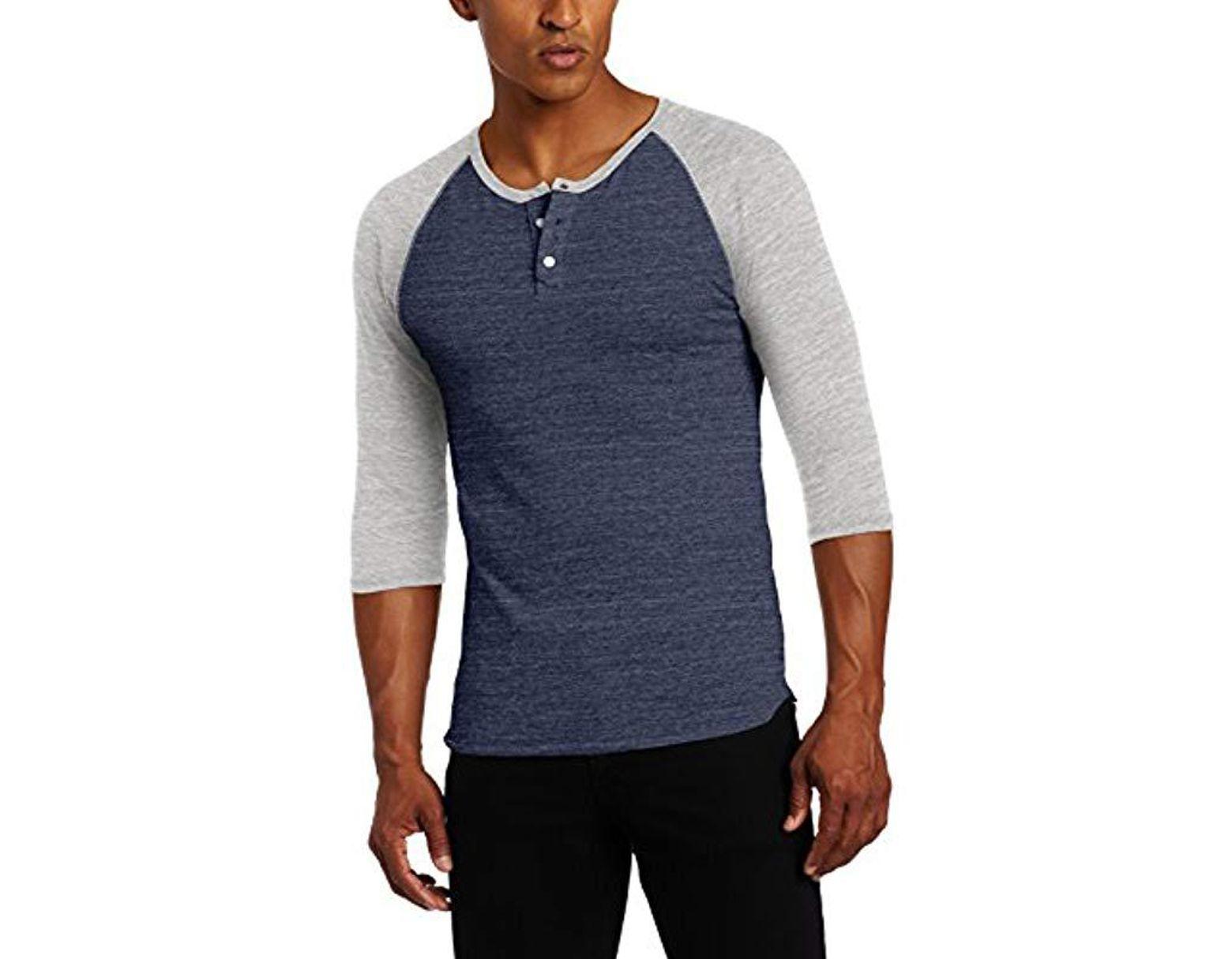 48716e0d Alternative Apparel Raglan 3/4 Sleeve Henley Shirt in Blue for Men - Save  60% - Lyst