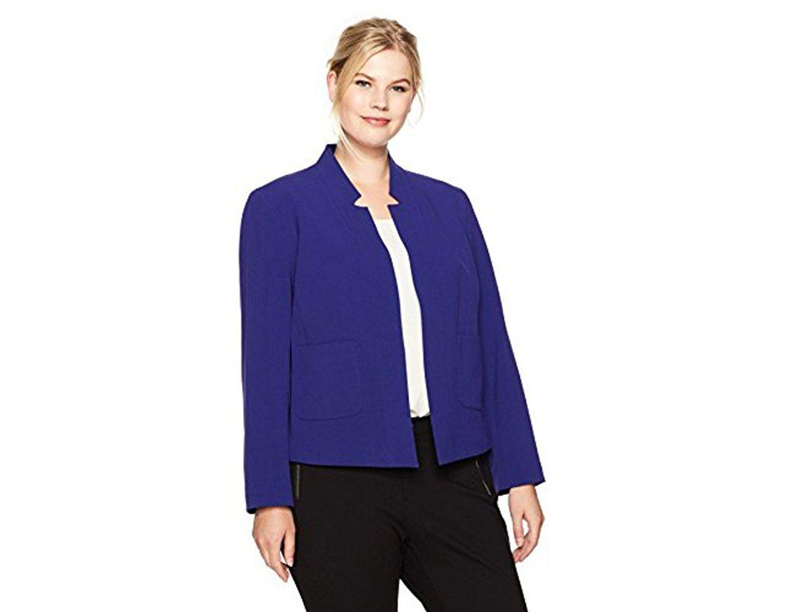 a82c16383fe Nine West Plus Size Solid Bi Stretch Kiss Front Jacket in Purple - Lyst