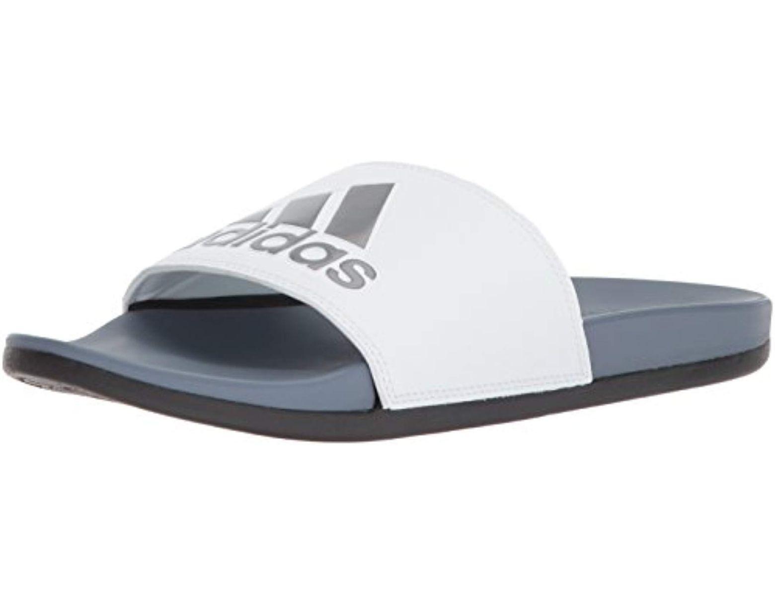 360b0a80033be Women's White Adilette Cloudfoam Plus Stripes Slides
