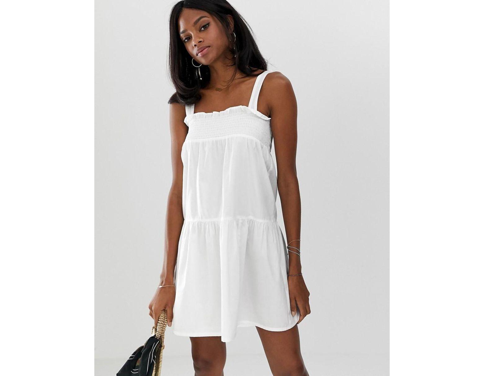 5ff3df7361f ASOS Trapeze Mini Cotton Sundress in White - Lyst