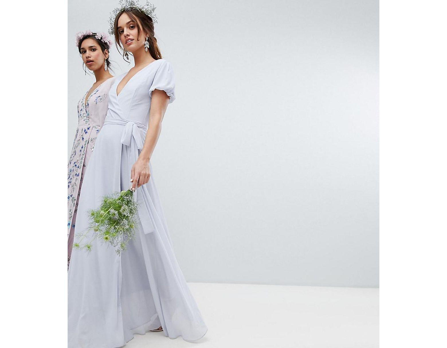 574a098fbf Lyst - TFNC London Wrap Maxi Bridesmaid Dress With Tie Detail And Puff  Sleeves in Gray
