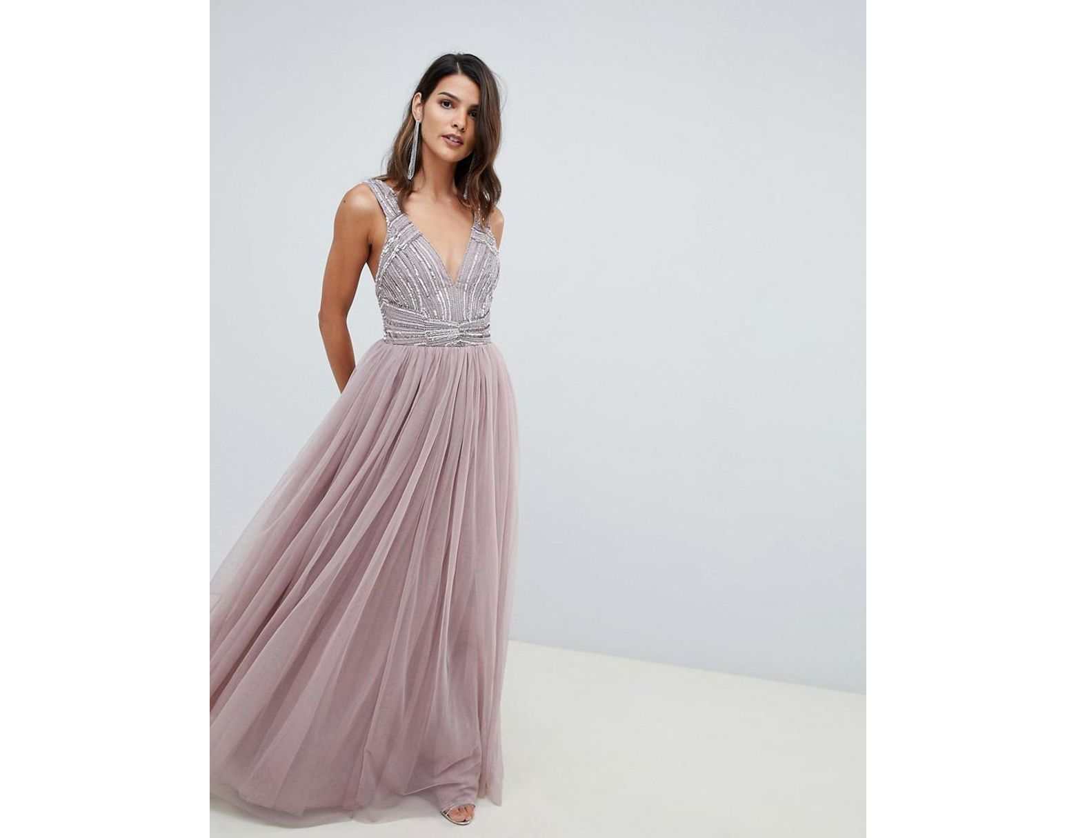 fe66f4bf131 ASOS Maxi Dress In Tulle With Embellished Bodice in Pink - Lyst
