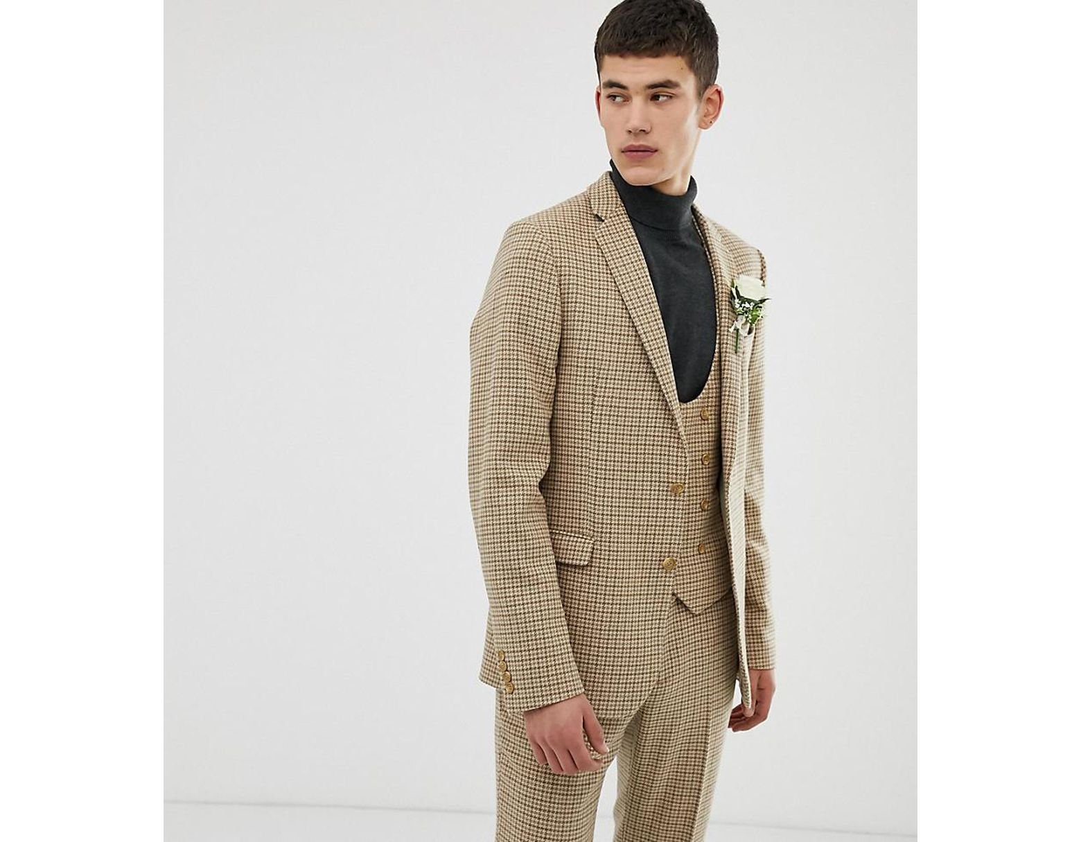 3e8cf296a57 ASOS Tall Wedding Skinny Suit Jacket In Stone Micro Check in Natural for  Men - Lyst