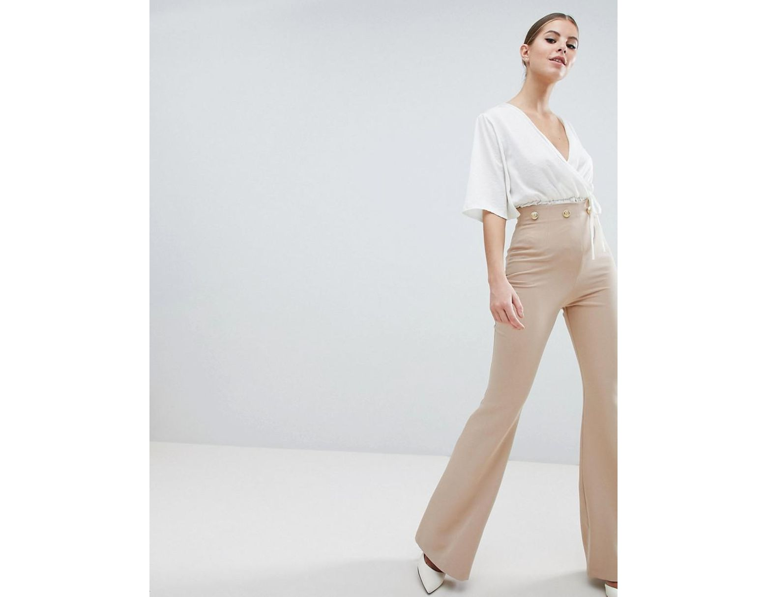 bf353fb7401ae9 Vesper Button Detail Wide Leg Pants in Brown - Lyst