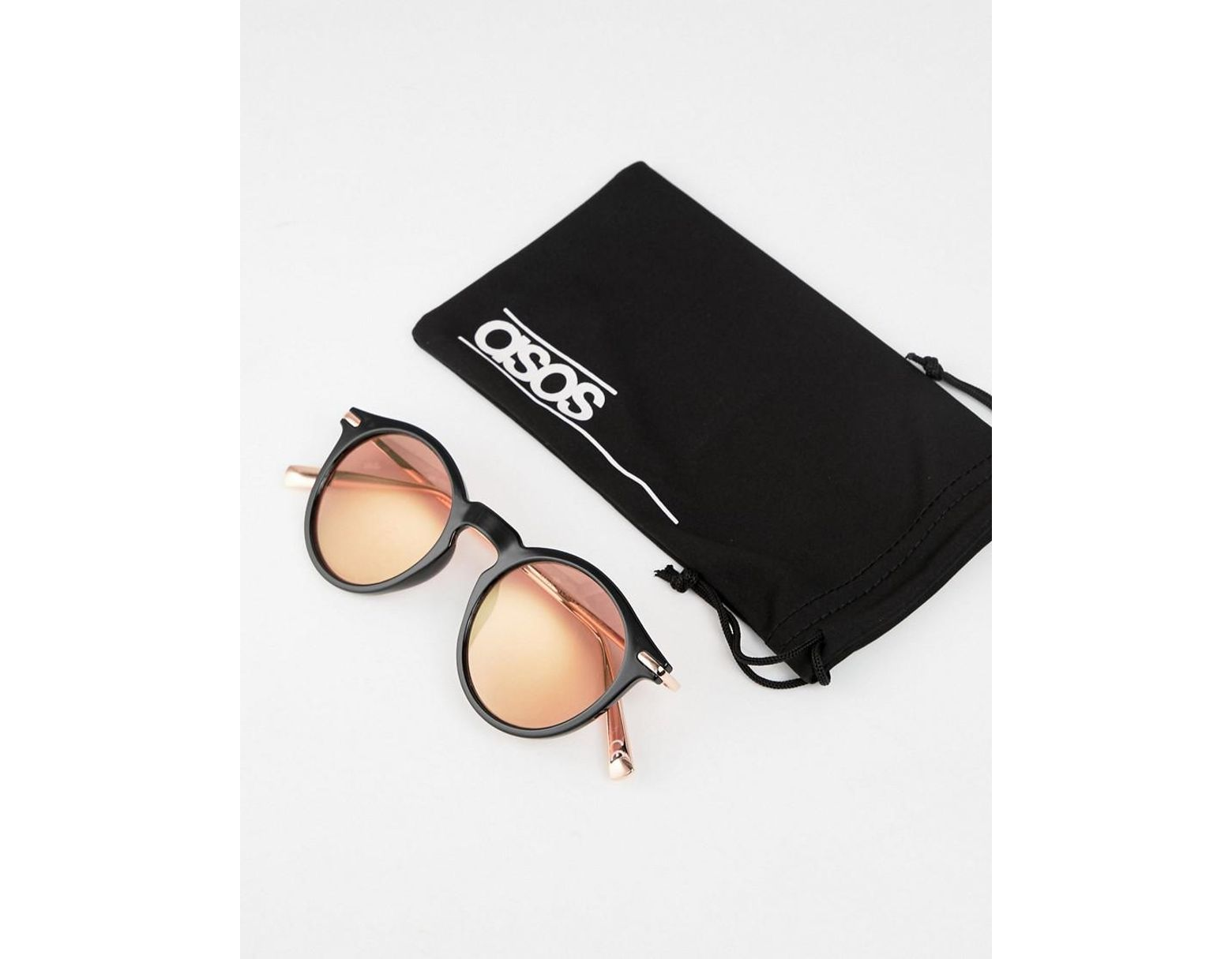55daa6945fe9 ASOS Round Sunglasses In Black With Rose Gold Mirrored Lens in Black for Men  - Lyst