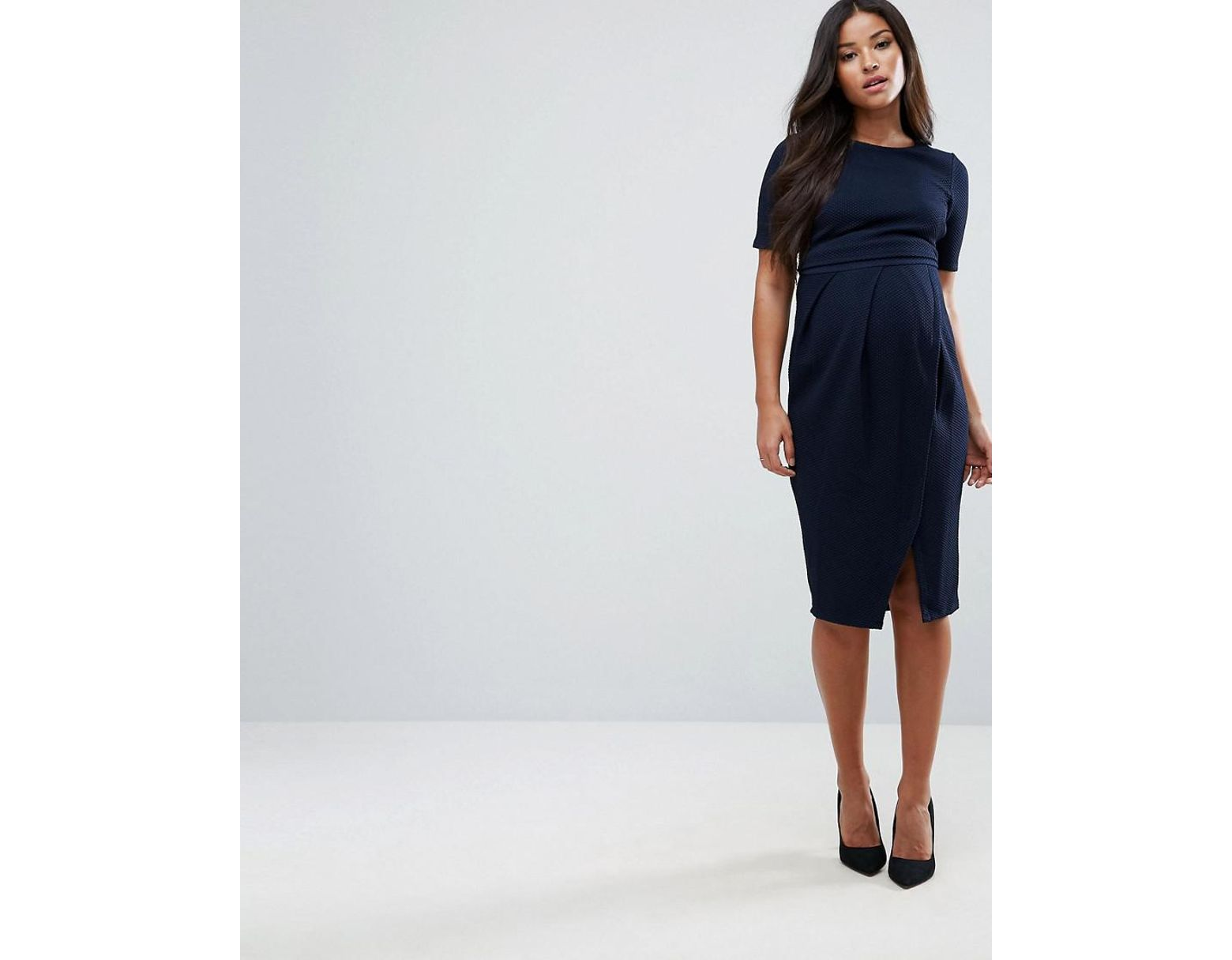 d18e69bf890ac ASOS Asos Design Maternity Double Layer Textured Smart Dress in Blue - Lyst