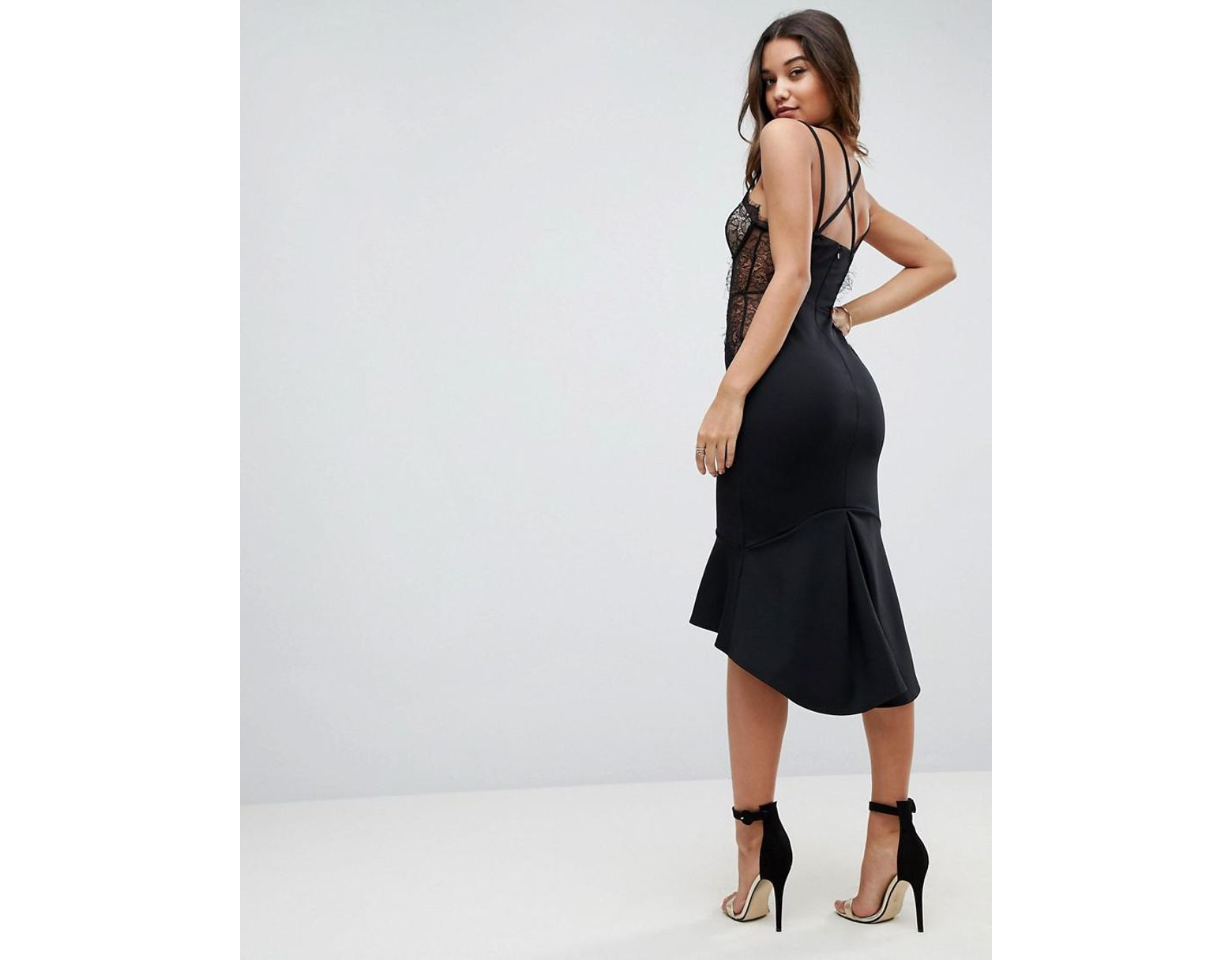 f31d8018f151 Lyst - ASOS Asos Lace Cupped Pephem Strappy Bodycon Dress in Black