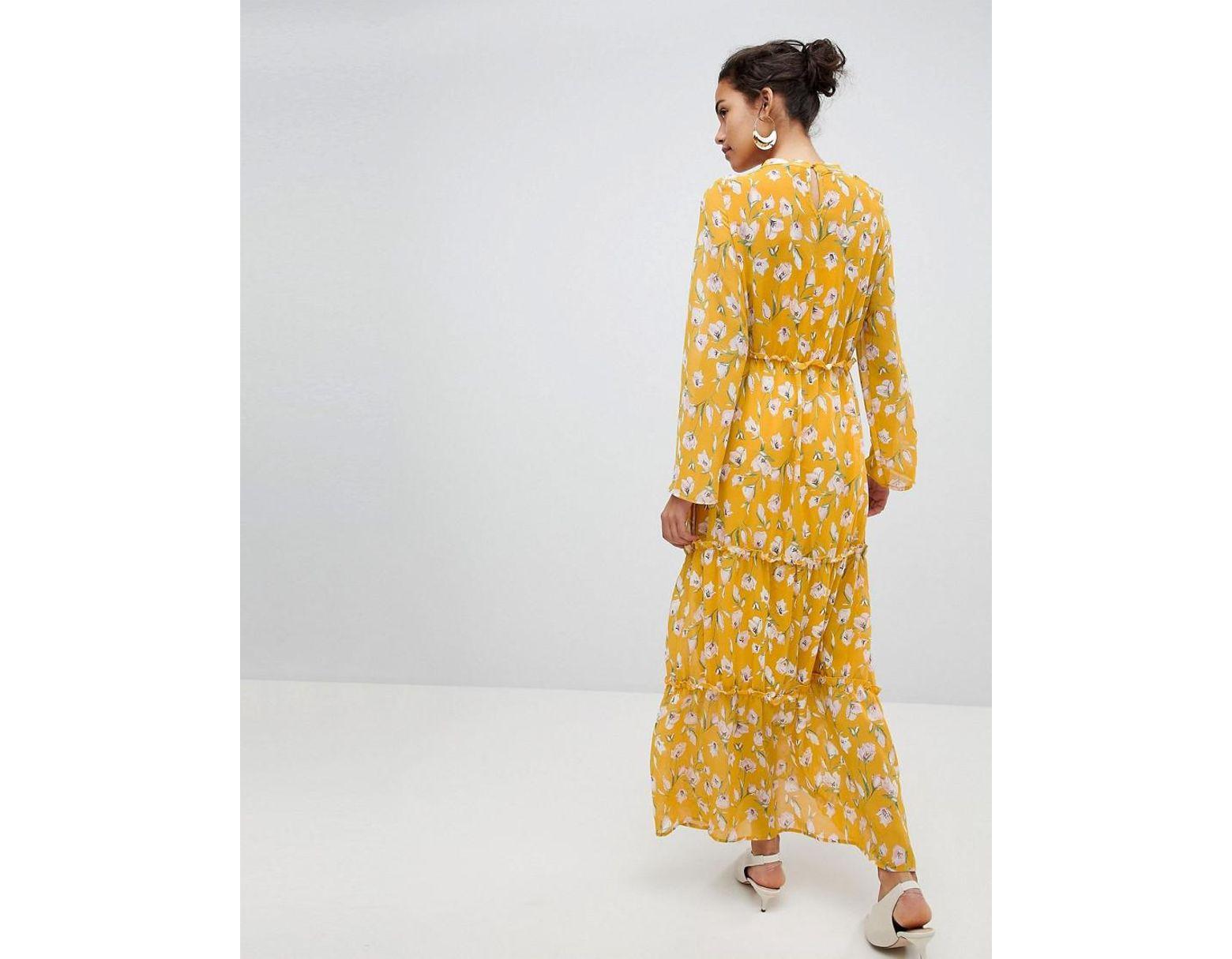 21efc68d404a Vila Floral Maxi Dress in Yellow - Lyst