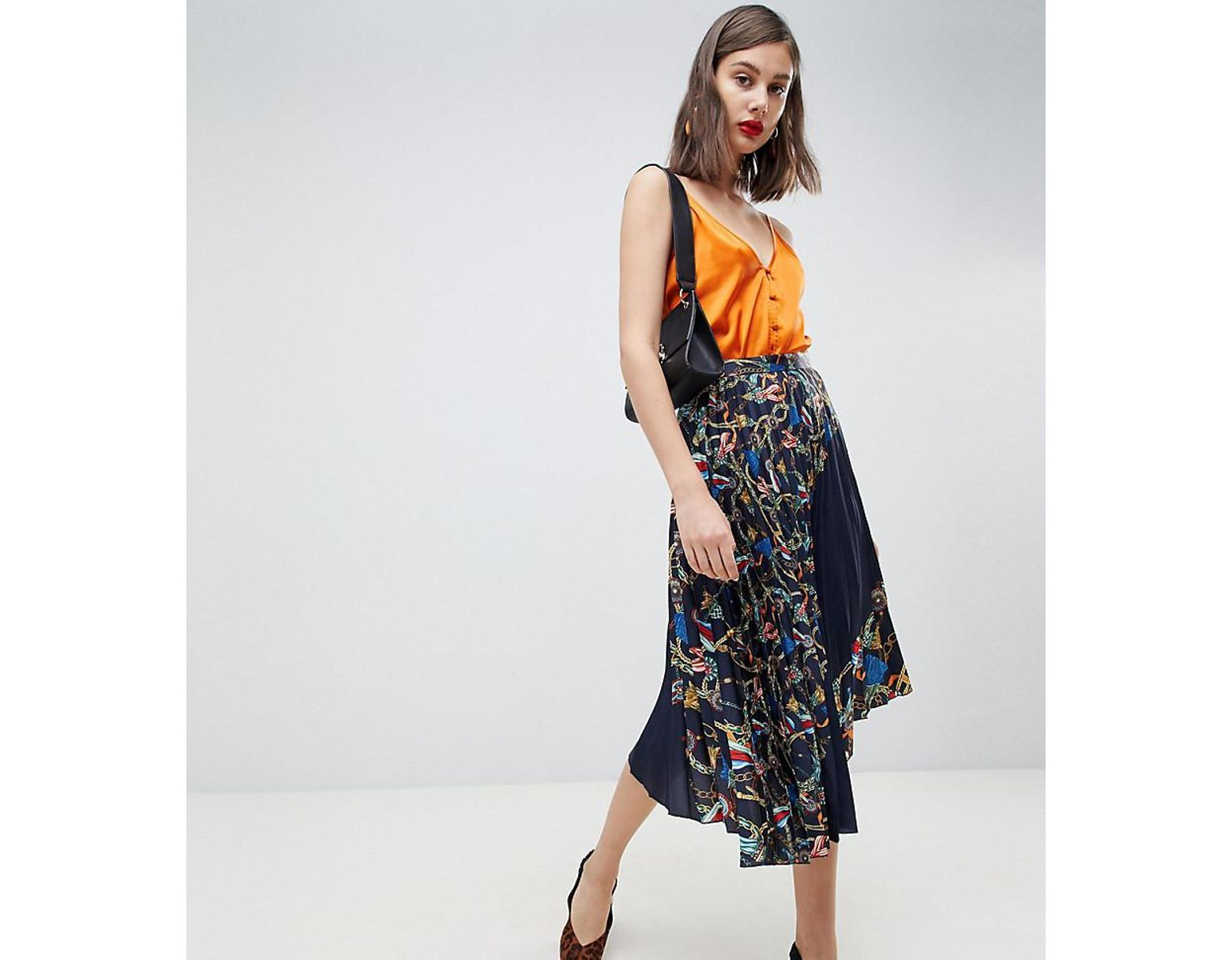 e5b172371 Mango Chain Print Pleated Midi Skirt In Multi in Blue - Lyst