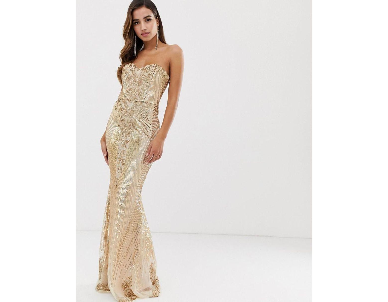 f2b5f12c Goddiva Bandeau Sequin Embellished Maxi Dress In Gold in Metallic - Lyst