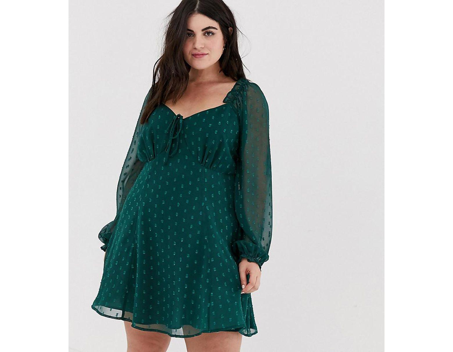 13f8175a819 ASOS Asos Design Curve Sweetheart Babydoll Mini Swing Dress In Dobby ...