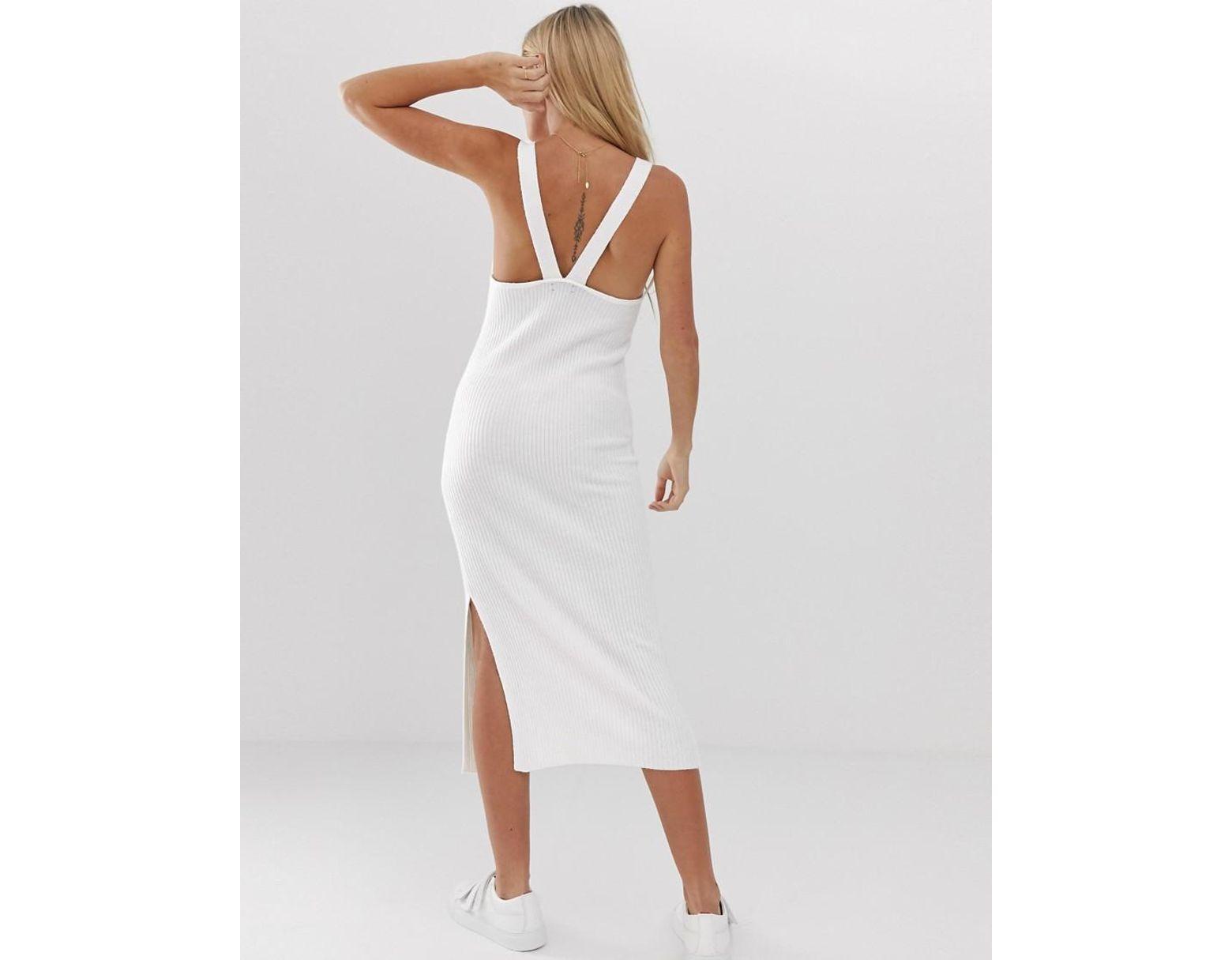 Micha lounge wide strap cami midi dress in white lyst