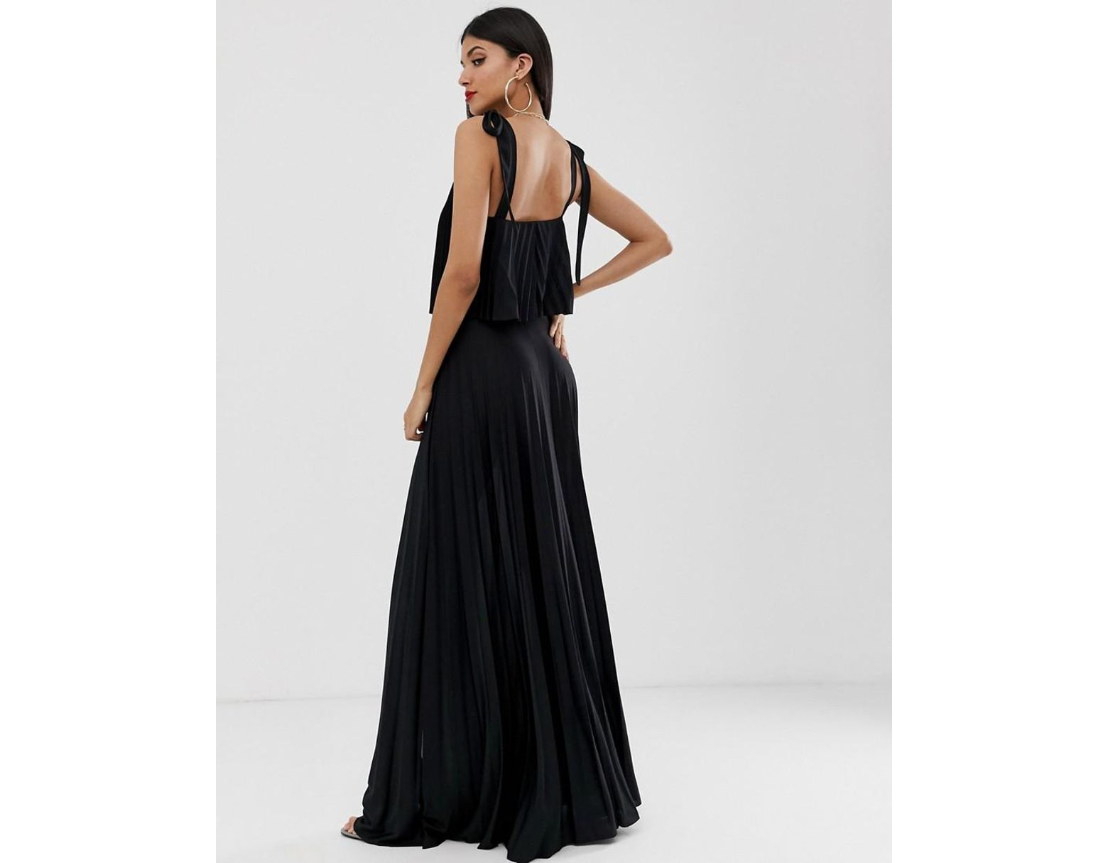 7ad007f0db99e6 ASOS Asos Design Tall Tie Shoulder Pleated Crop Top Maxi Dress in Black -  Lyst