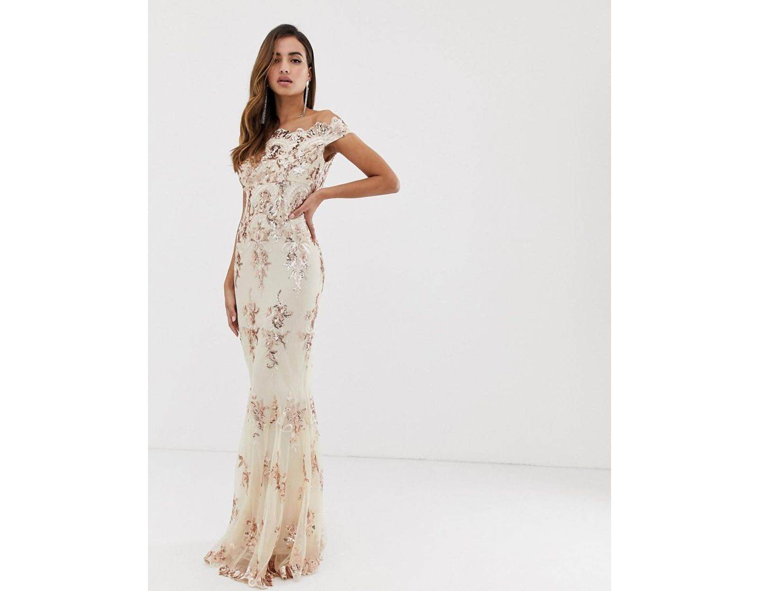 1989d8a5 Goddiva Off Shoulder Bardot Placement Lace Maxi Dress In Blush And Gold -  Lyst