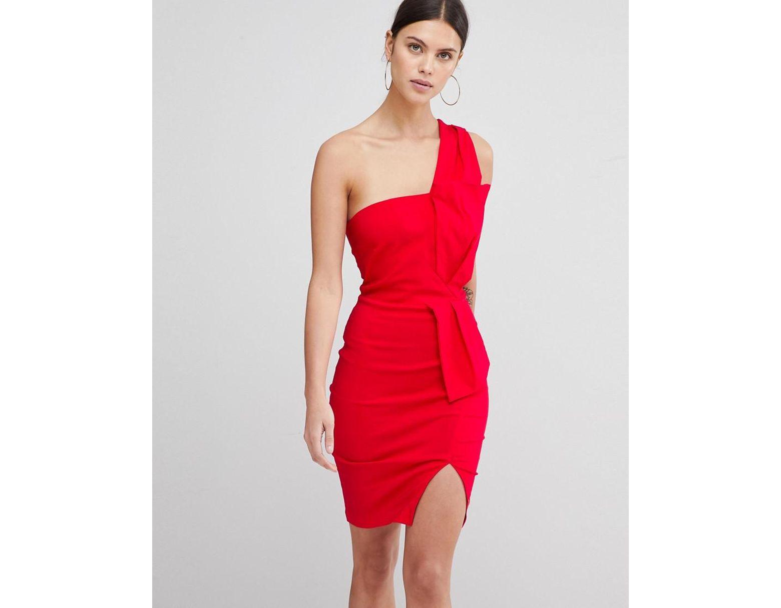 b5d1a7d31f96 Vesper One Shoulder Split Pencil Dress in Red - Lyst