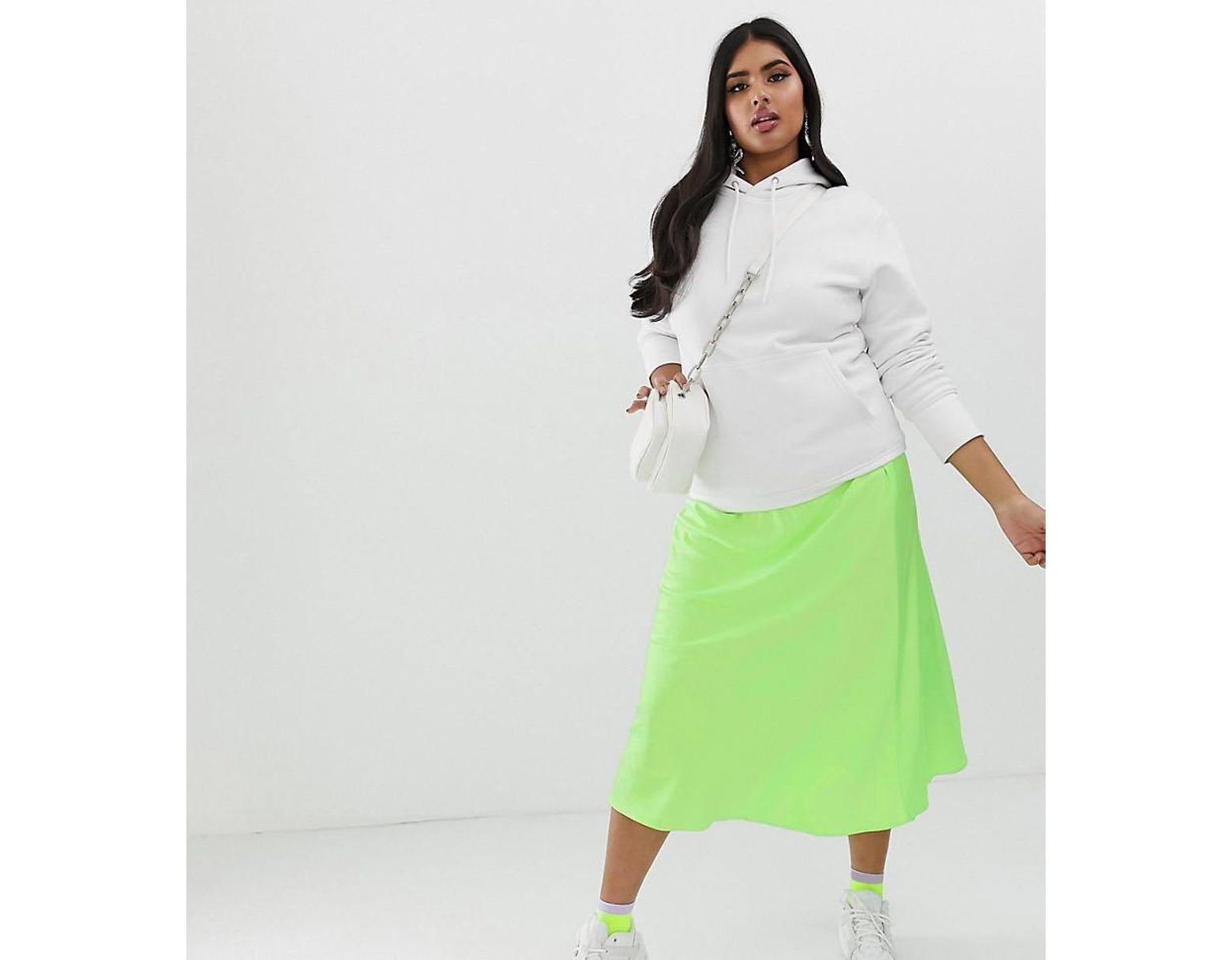 a393072c7b08 ASOS Asos Design Curve Bias Cut Satin Slip Midi Skirt In Neon in Green -  Lyst