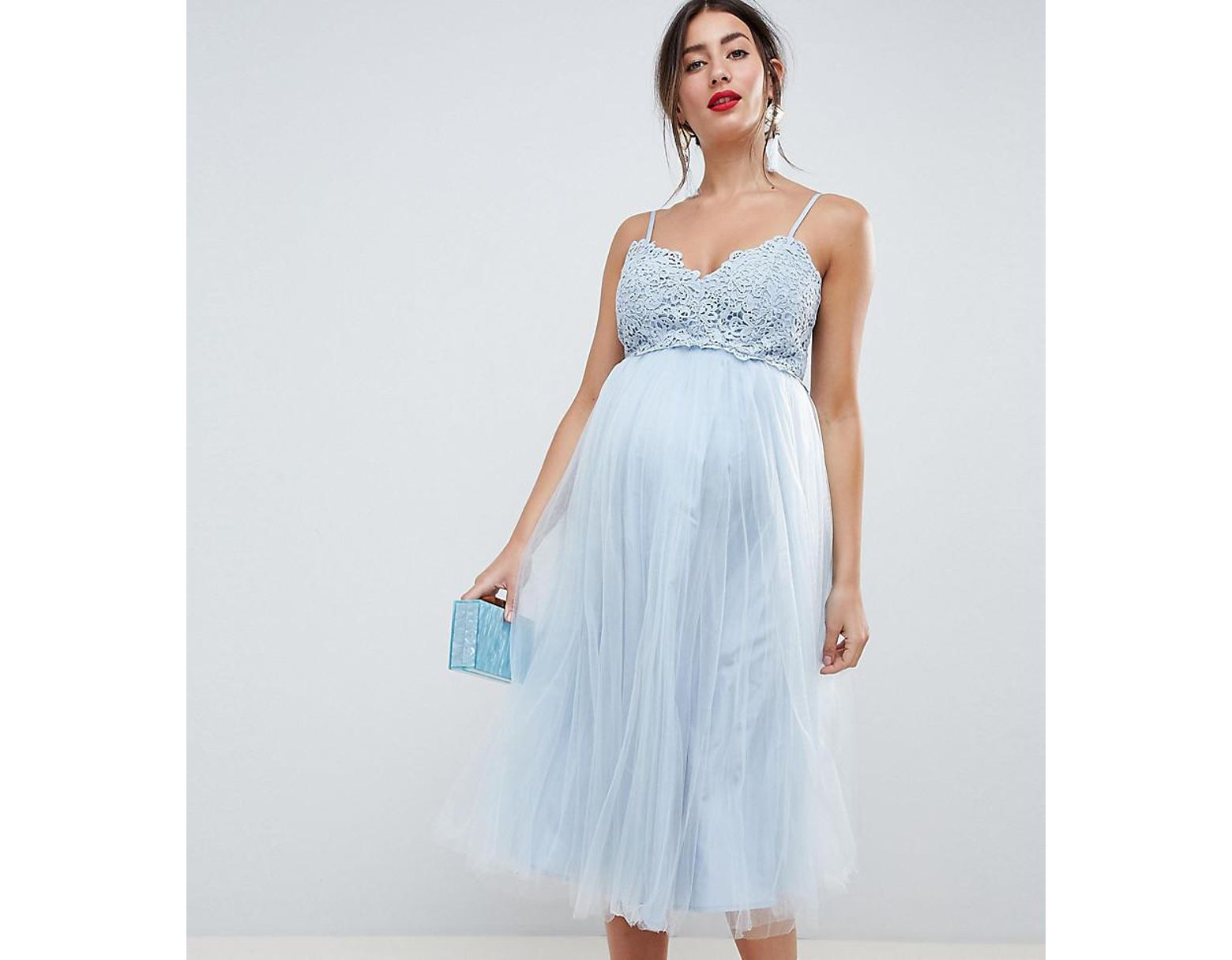 b1f248f9a9722 ASOS Asos Design Maternity Premium Lace Cami Top Tulle Midi Dress in Blue -  Lyst