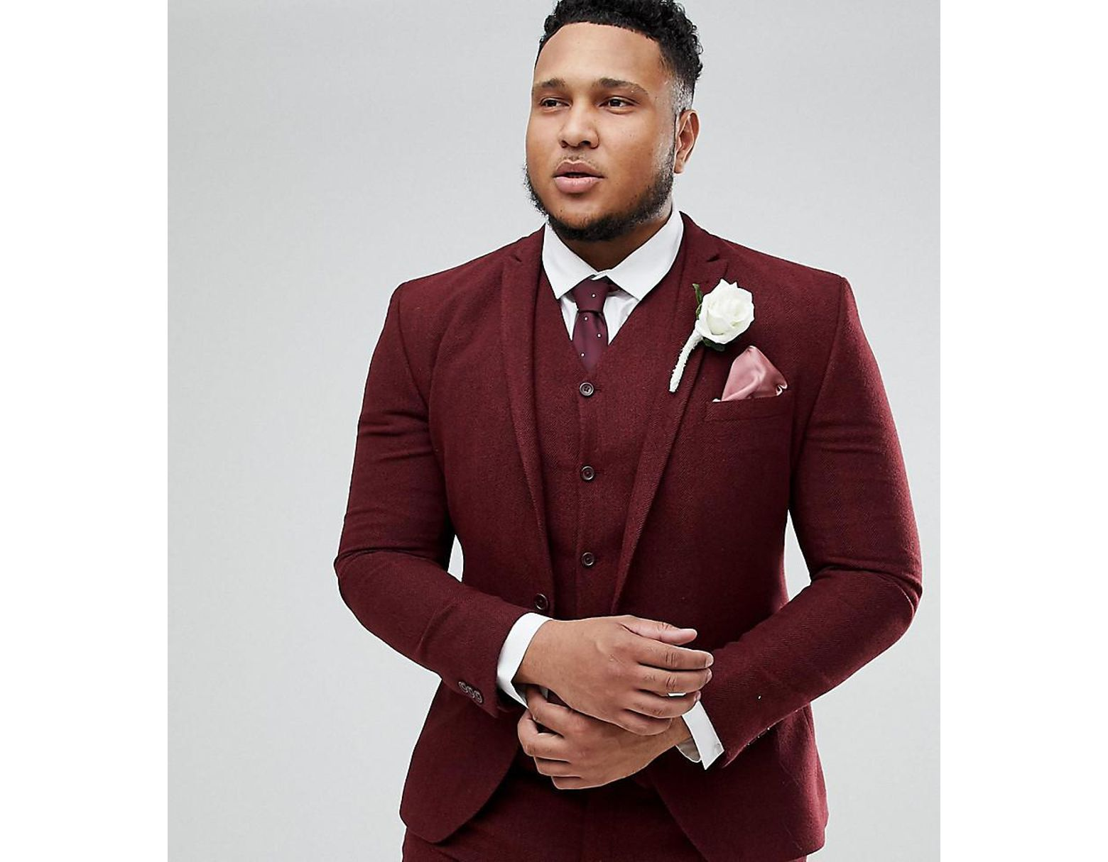 2545a467a058a5 ASOS Asos Plus Wedding Super Skinny Suit Jacket In Wine Herringbone in Red  for Men - Lyst