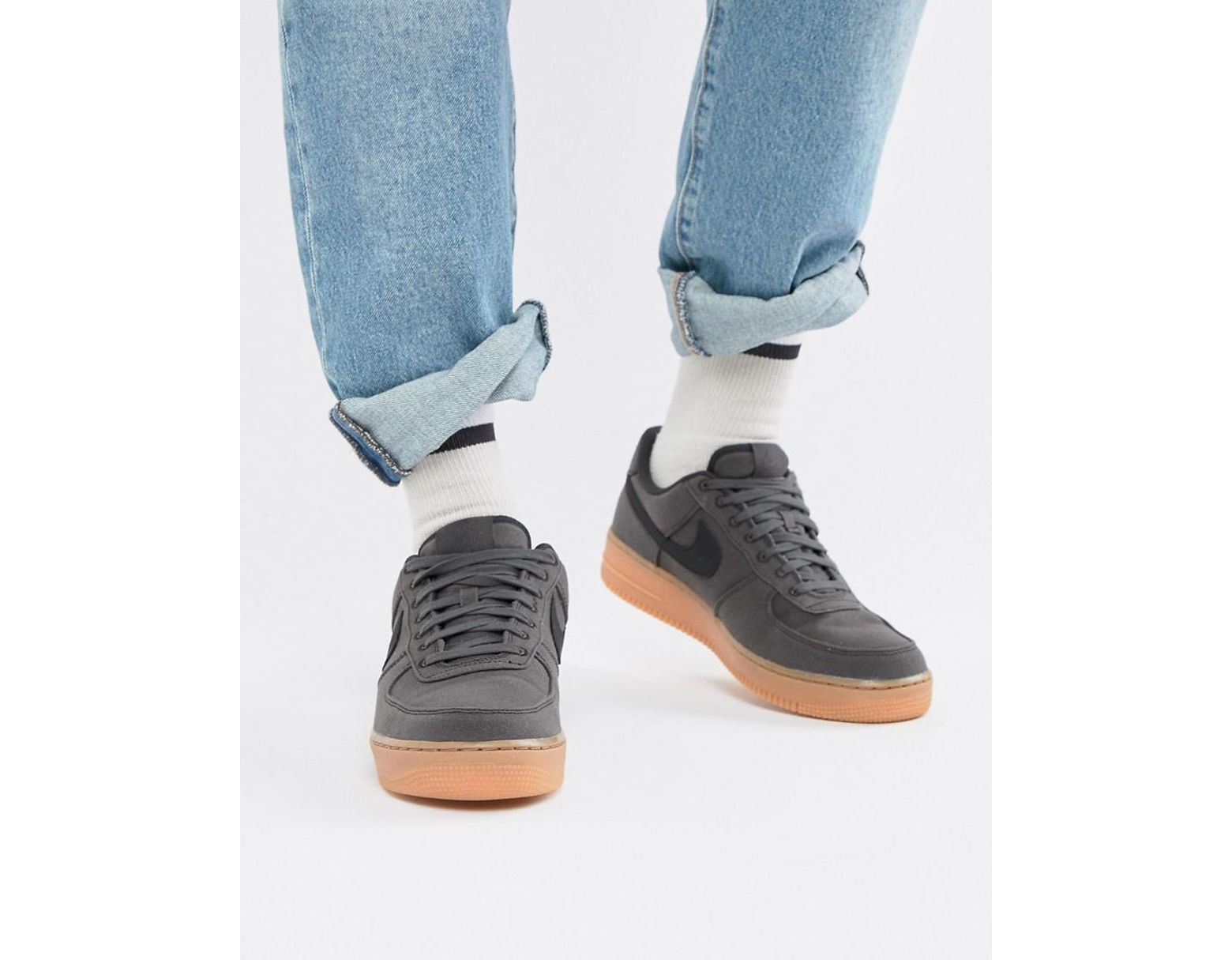 quality design 78b57 31a70 Nike Air Force 1  07 Style Sneakers With Gumsole In Black Aq0117-002 in  Black for Men - Lyst