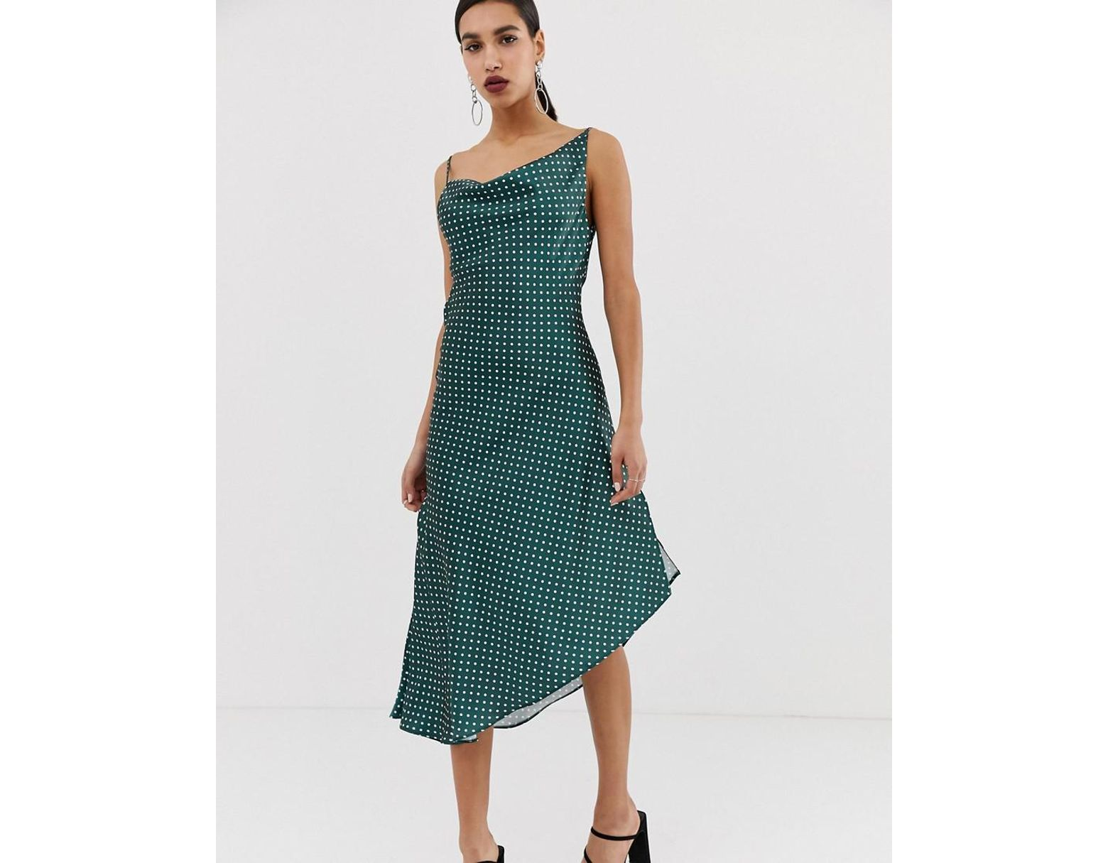 3fa94dacfa84 ASOS Midi Slip Dress In High Shine Satin In Spot Print in Green - Lyst