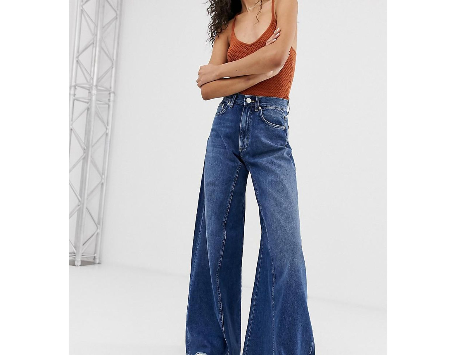 b9065f17772e6a ASOS. Women's Blue Asos Design Tall Wide Leg Jeans With Inverted Godet  Inserts In Dark Stone Wash