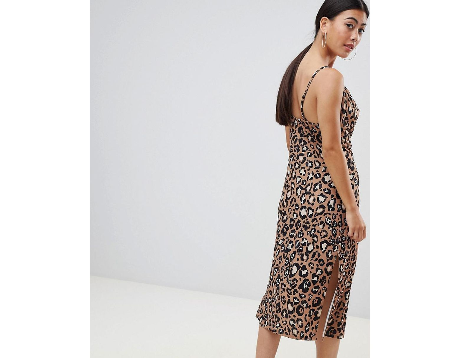 593f02c2edc6 ASOS Asos Design Petite Cowl Front Midi Slip Dress In Leopard Print - Lyst