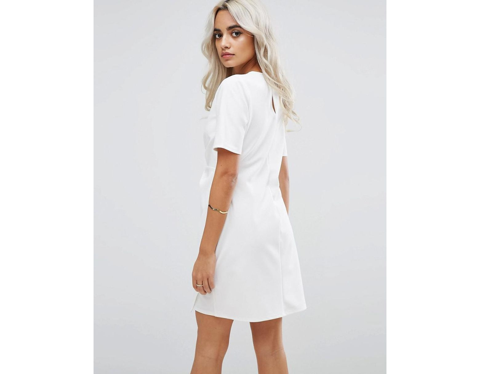 49b2e69467c2 ASOS Mini Skater Dress With Twist Front in White - Lyst
