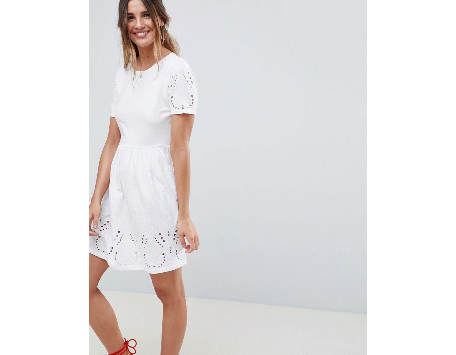 928700452c082 ASOS Broderie Mini Skater Dress in White - Lyst