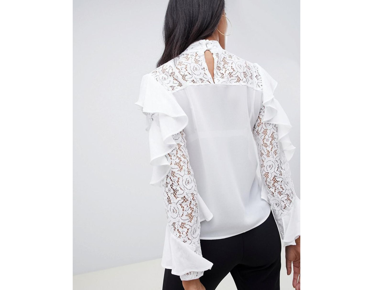 e4880f5e3861d3 TFNC London Lace Ruffle Sleeve Top With Cut Out Detail in White - Lyst