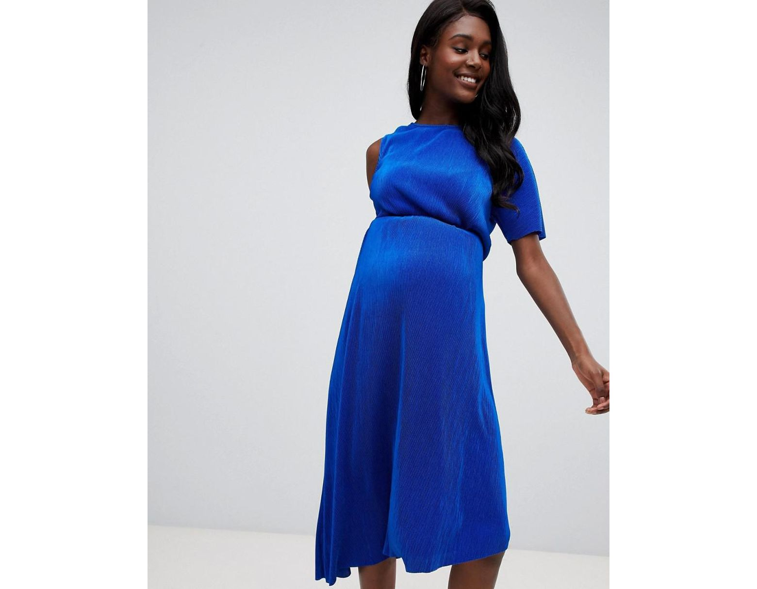 0dcc7ed28a3e4 ASOS Asos Design Maternity Midi Plisse Dress With One Shoulder And Wrap  Back in Blue - Lyst