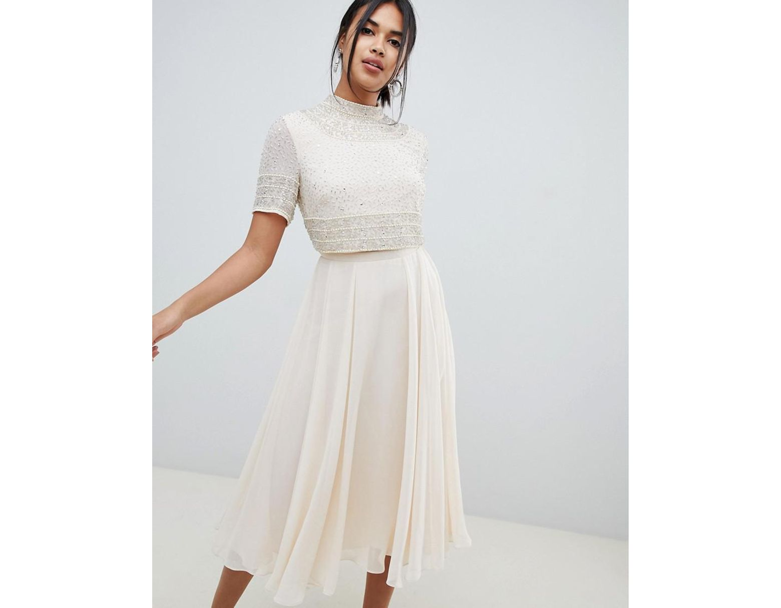 a81edf9cc9be58 ASOS Midi Dress With High Neck Crop Top In Delicate Embellishment - Lyst