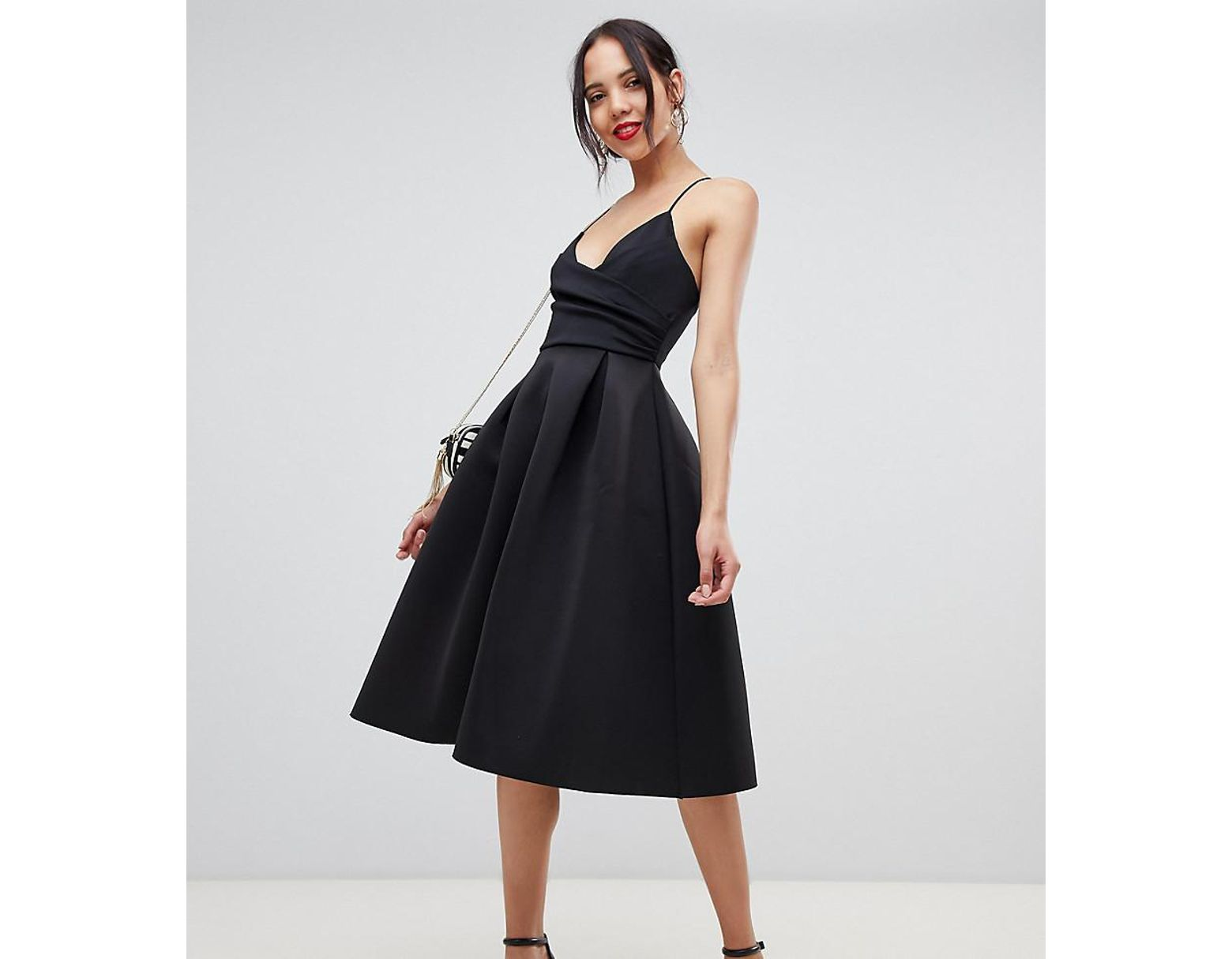 75b6c74d63be ASOS Asos Design Tall Scuba Cami Prom Midi Dress in Black - Lyst