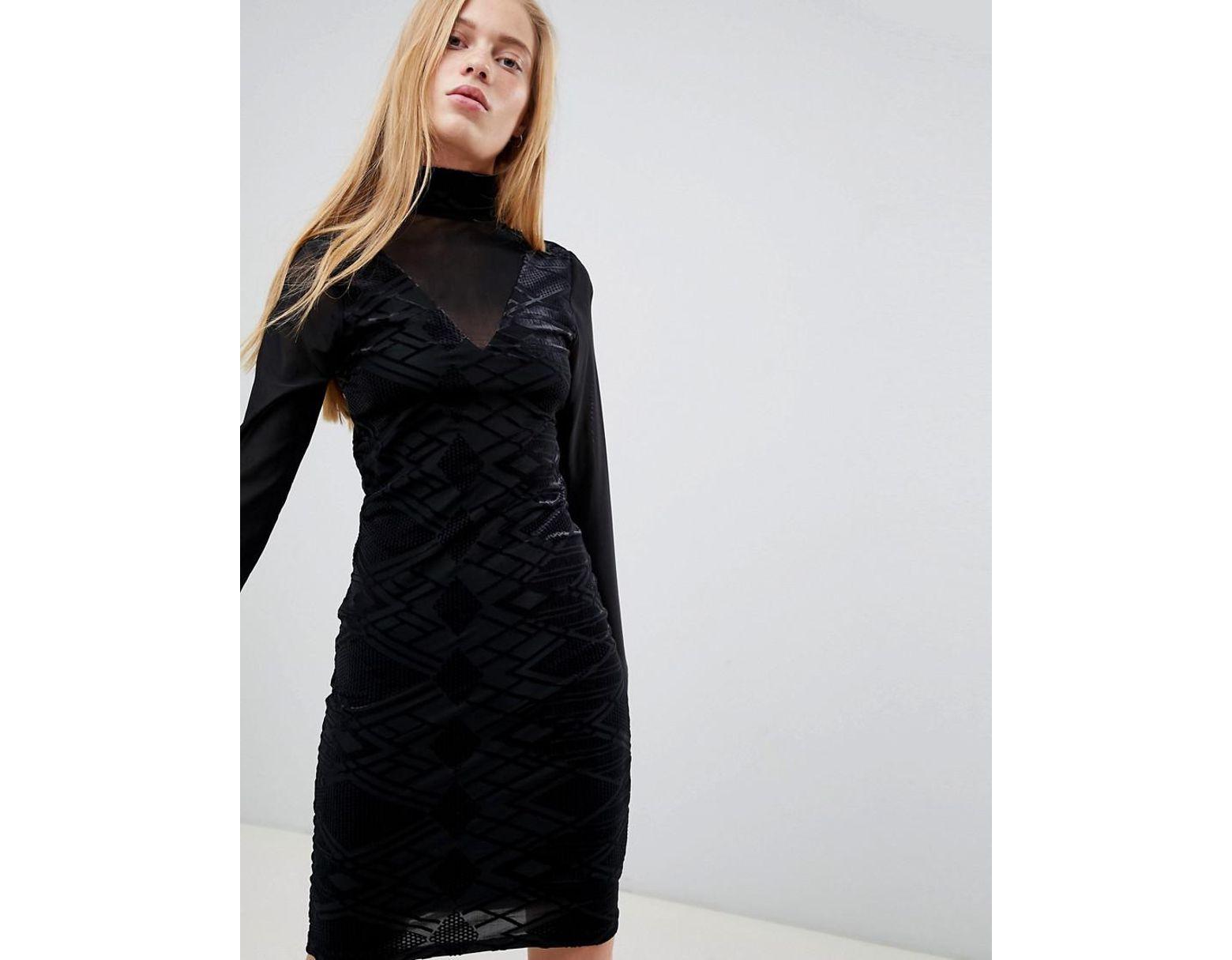 d521d51c3 B.Young High Neck Burnout Velvet Dress in Black - Lyst