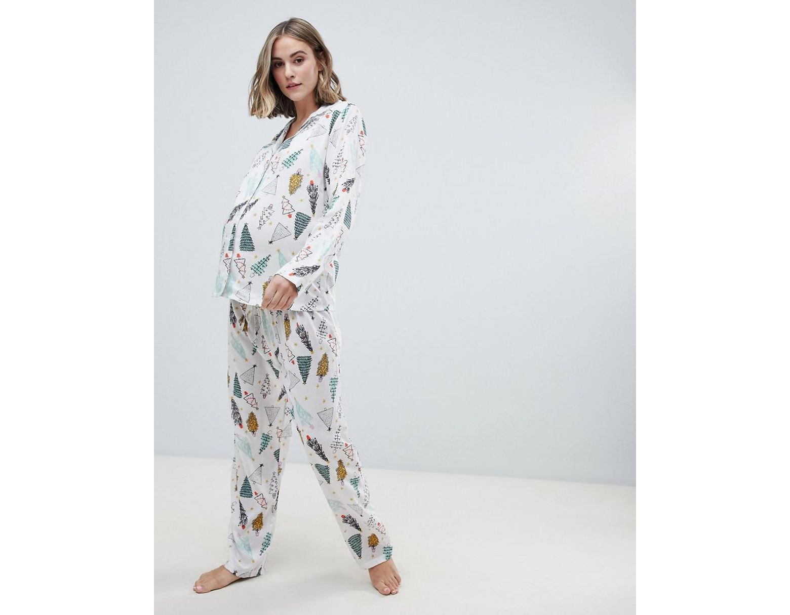 78c735756e700 ASOS Asos Design Maternity Christmas Tree Traditional Shirt And Pants Pyjama  Set In 100% Modal in White - Lyst