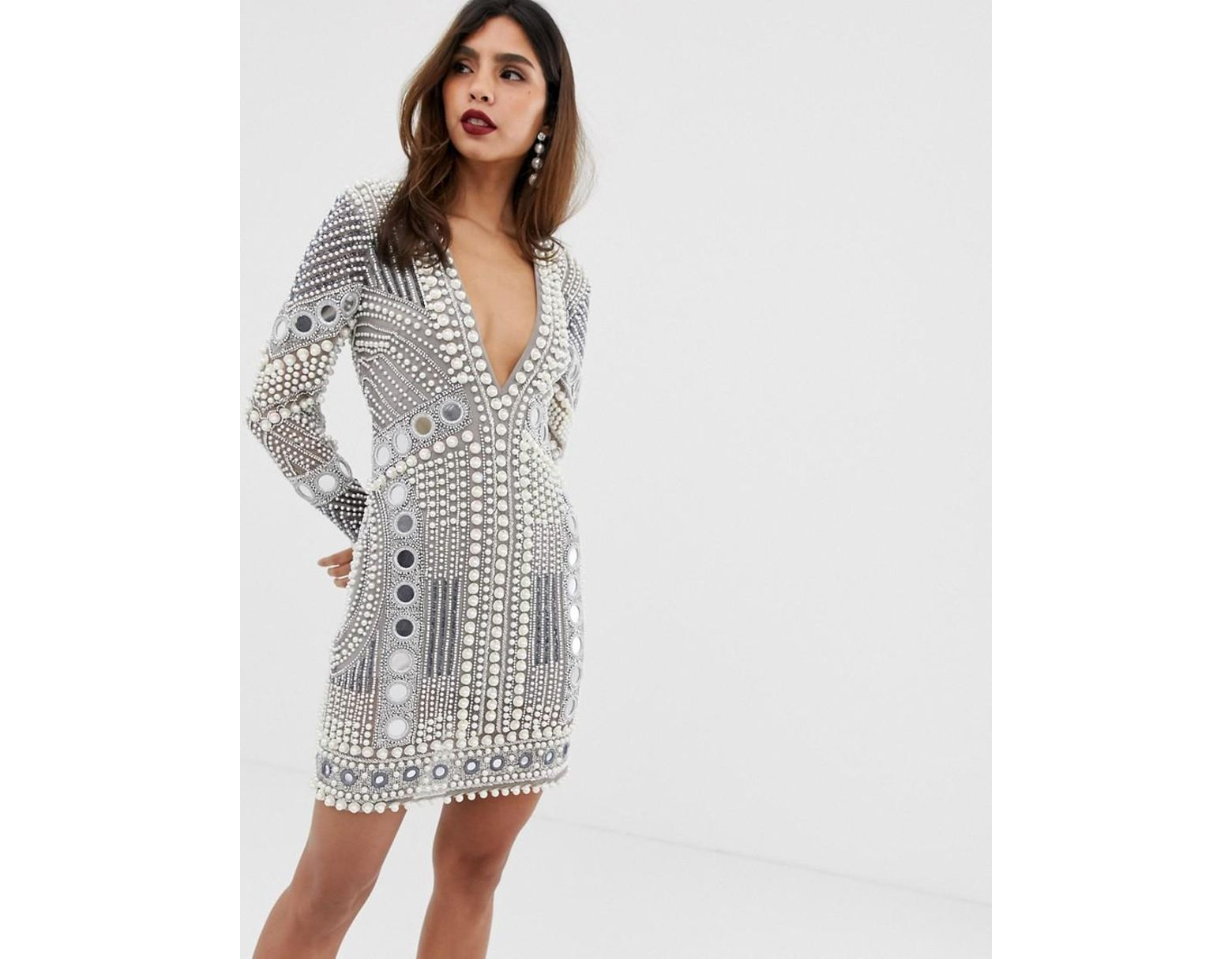 f66dcde045 ASOS Disc And Pearl Mini Dress in Gray - Lyst