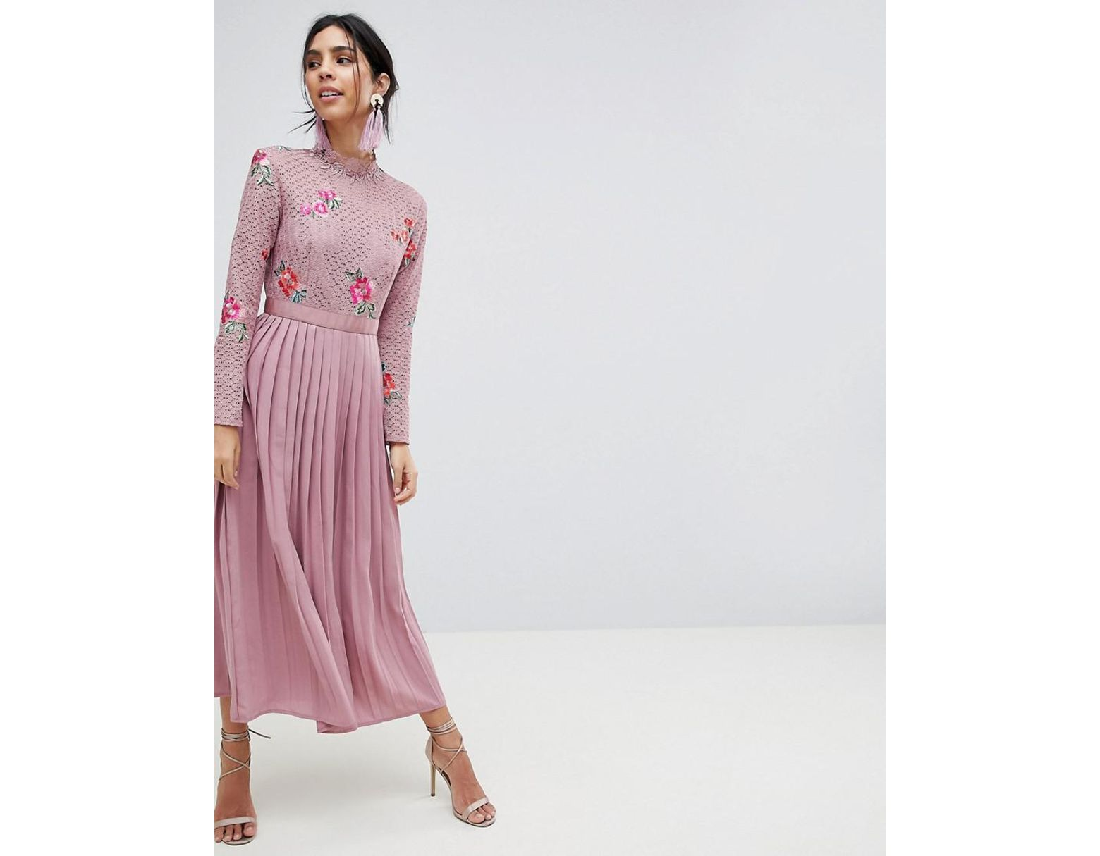 740e9126d5e66 Little Mistress Embroidered Lace Top Midaxi Dress With Pleated Skirt in  Pink - Lyst