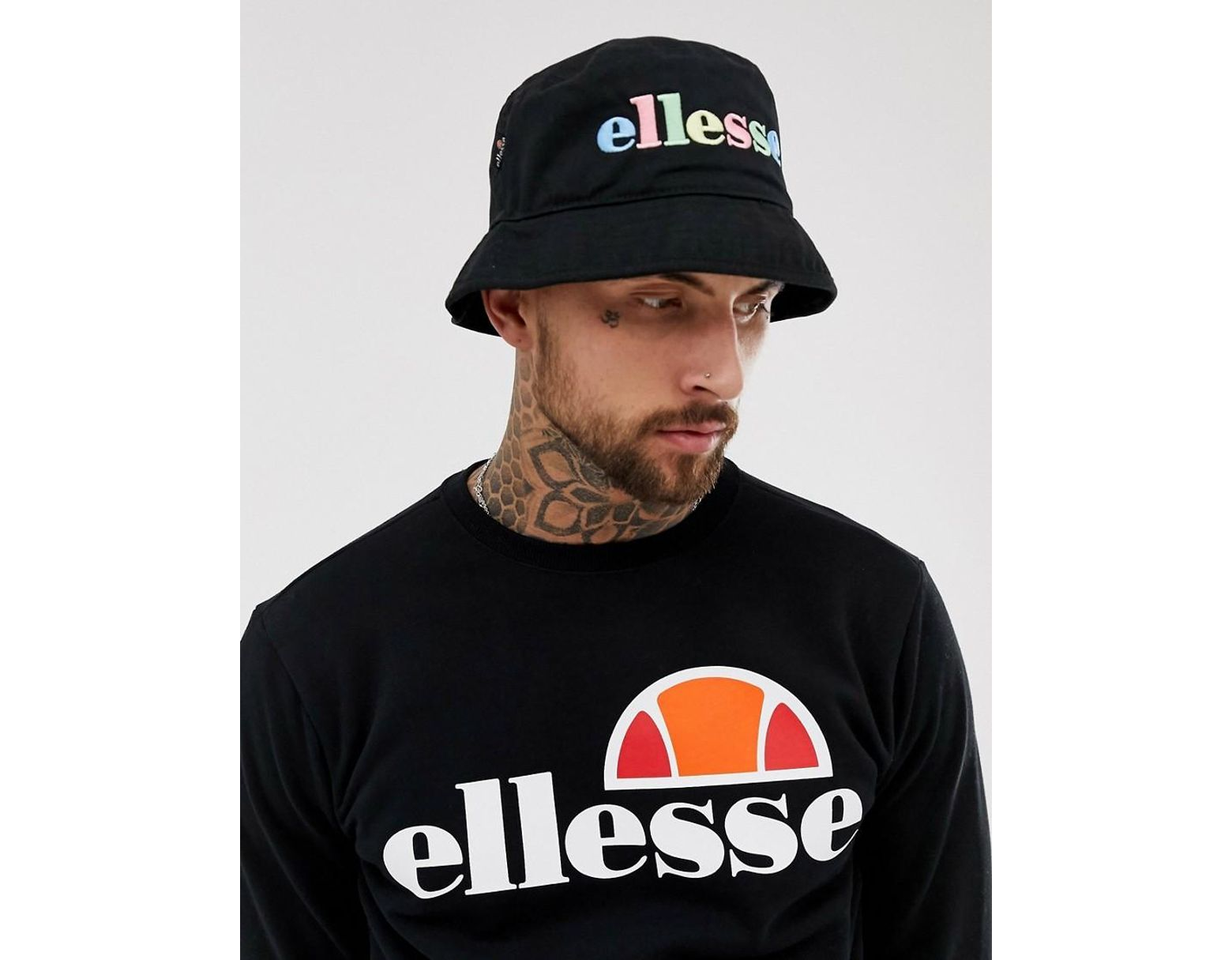 ee337e2a9e Ellesse Lomba Bucket Hat With Embroidered Rainbow Logo In Black in ...