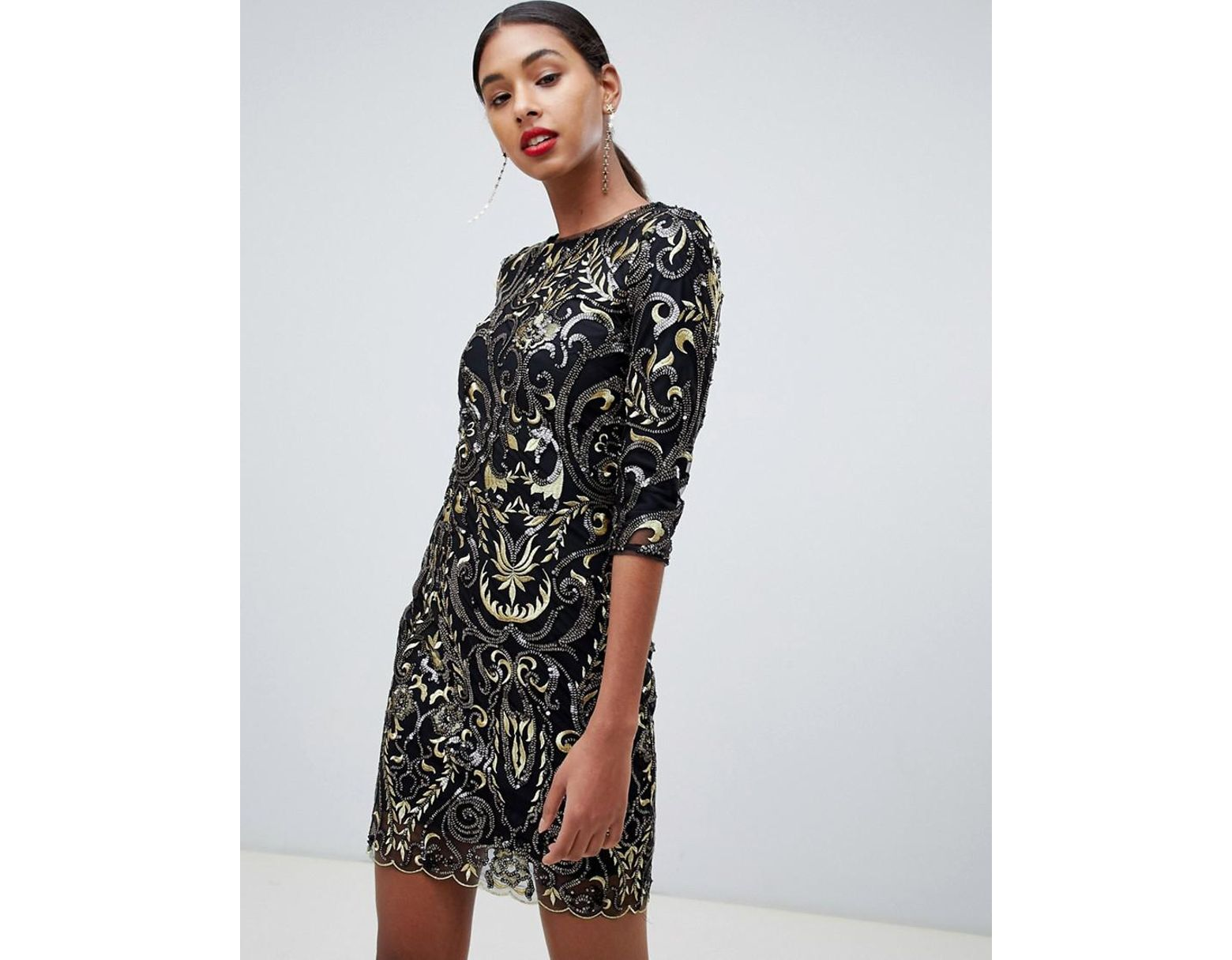 f11a227255ed TFNC London Patterned Sequin Mini Bodycon Dress With Scallop Open Back In  Black in Black - Lyst