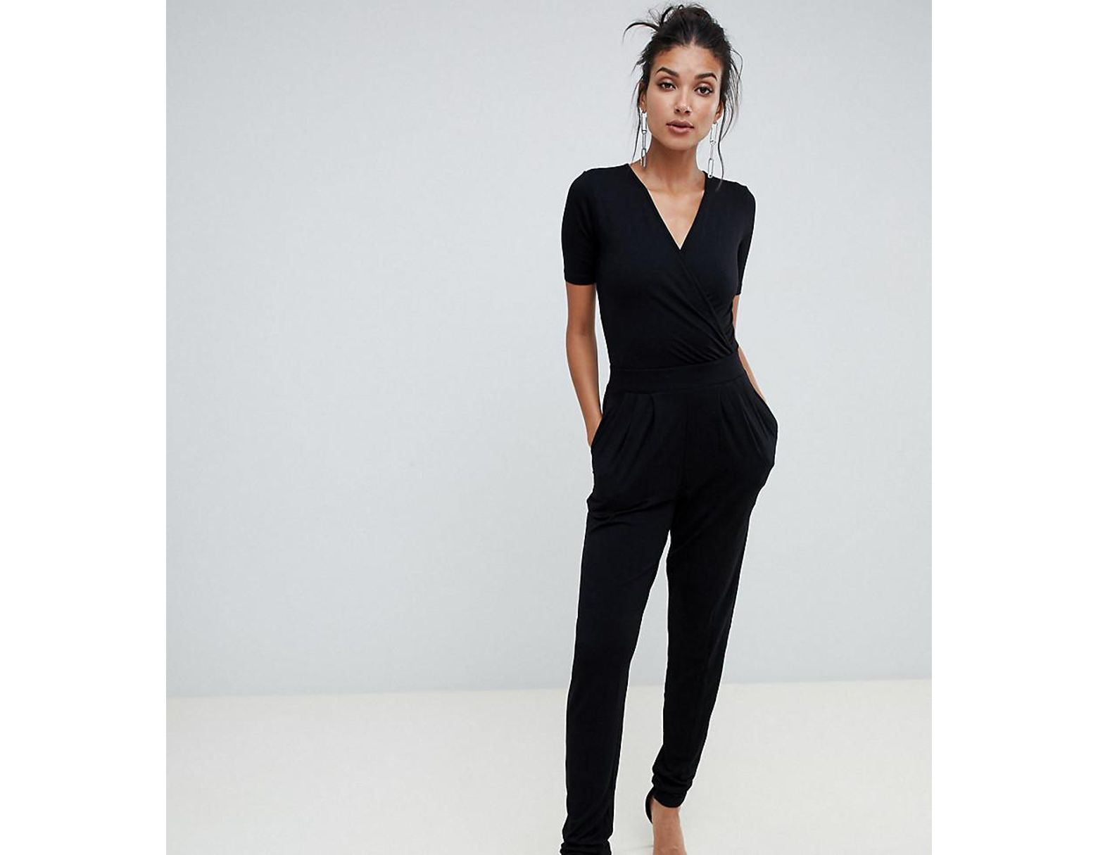 5d9d0946f9d7 ASOS Asos Design Tall Wrap Front Jersey Jumpsuit With Short Sleeve in Black  - Lyst