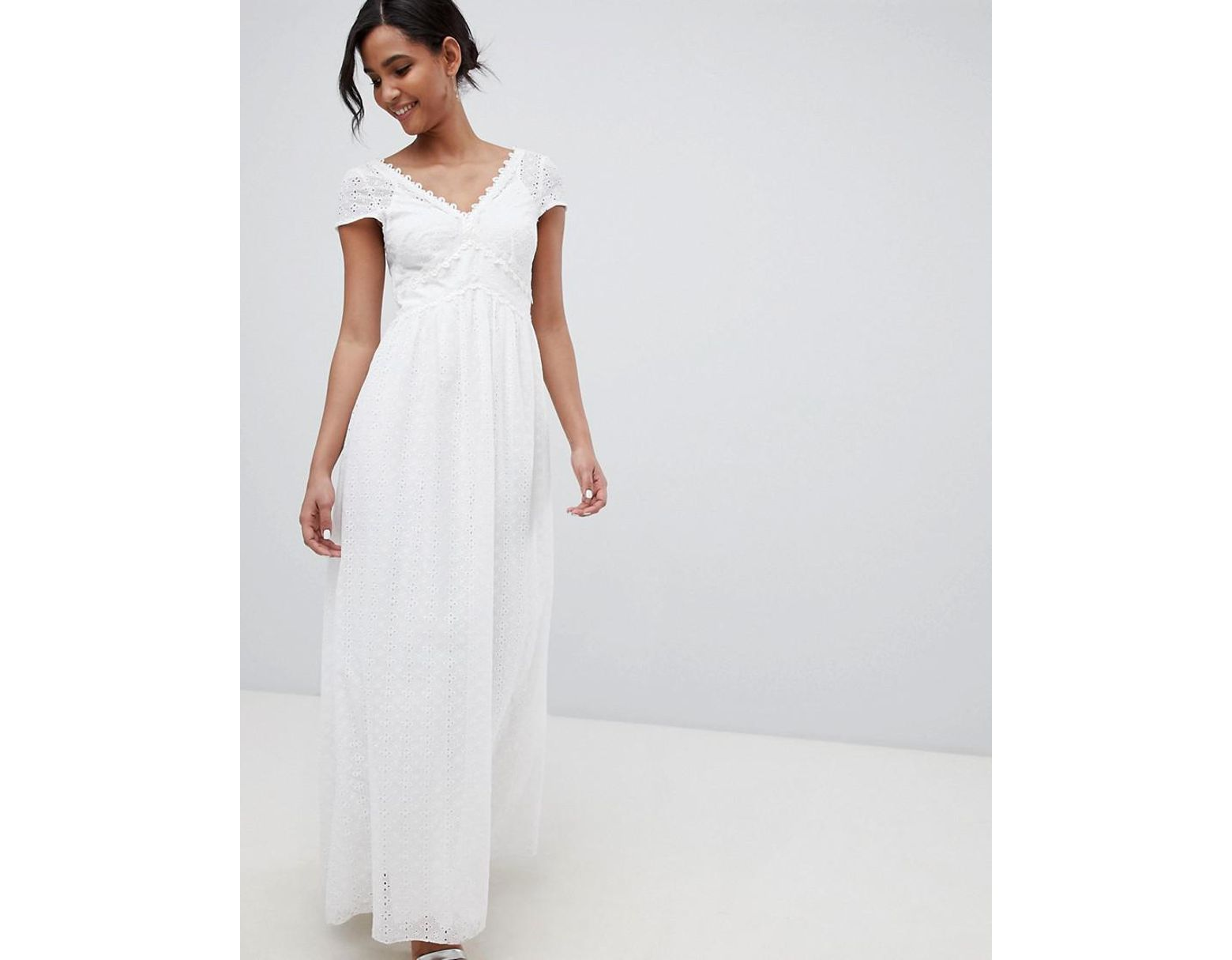 9d8dee7e47 Little Mistress Allover Broderie Plunge Front Maxi Dress In White in White  - Lyst