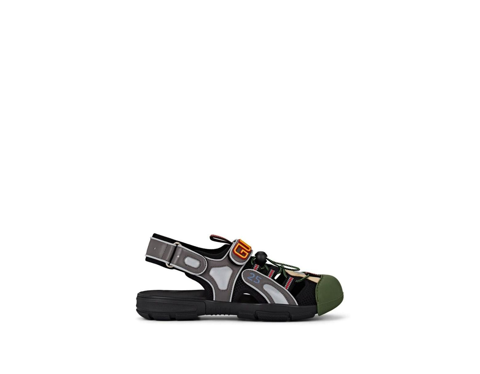 4619f4809 Gucci Tinsel Leather & Mesh Sandals in Gray for Men - Lyst