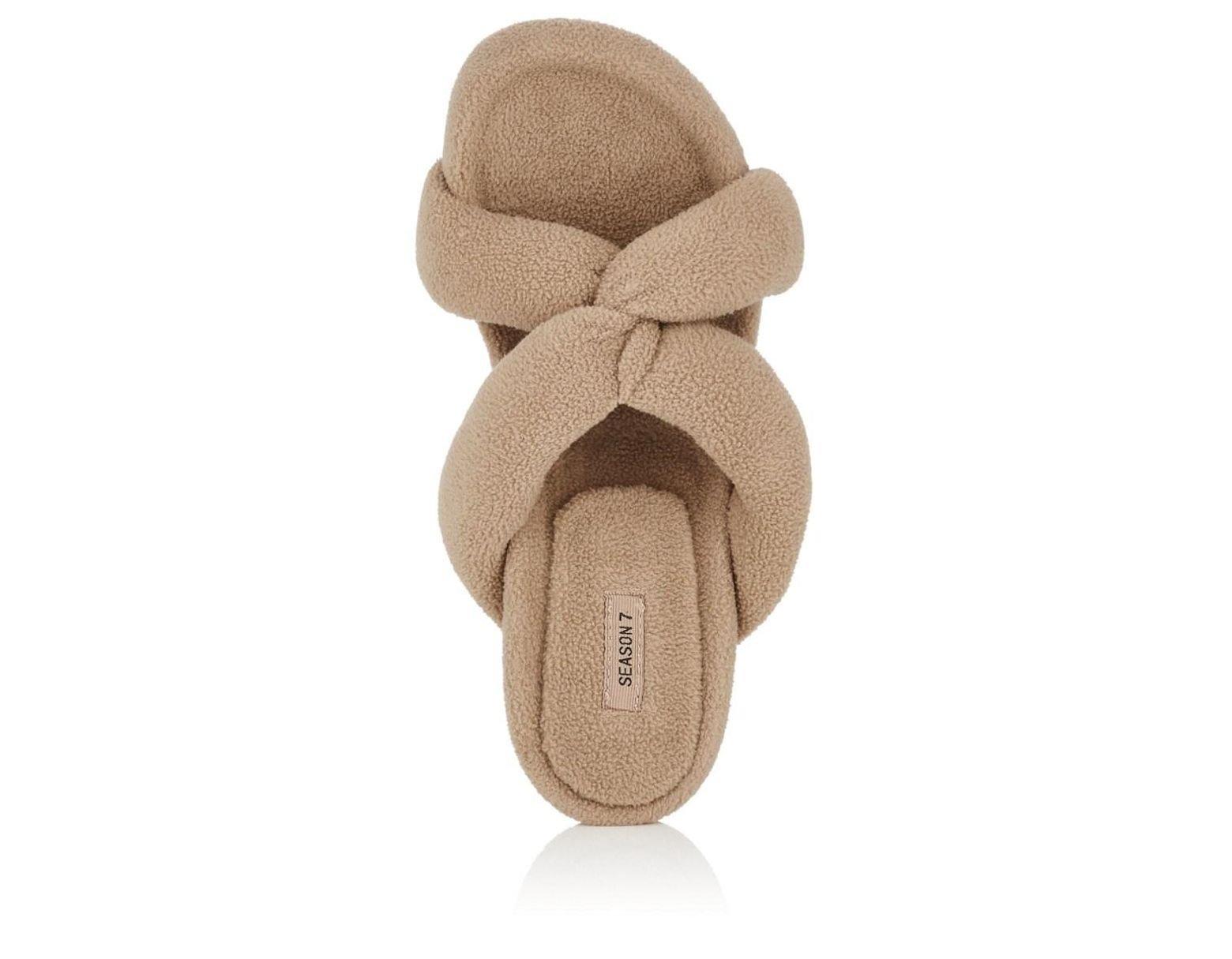c57dd1882049f Lyst - Yeezy Crisscross-strap Fleece Sandals in Natural - Save 41%