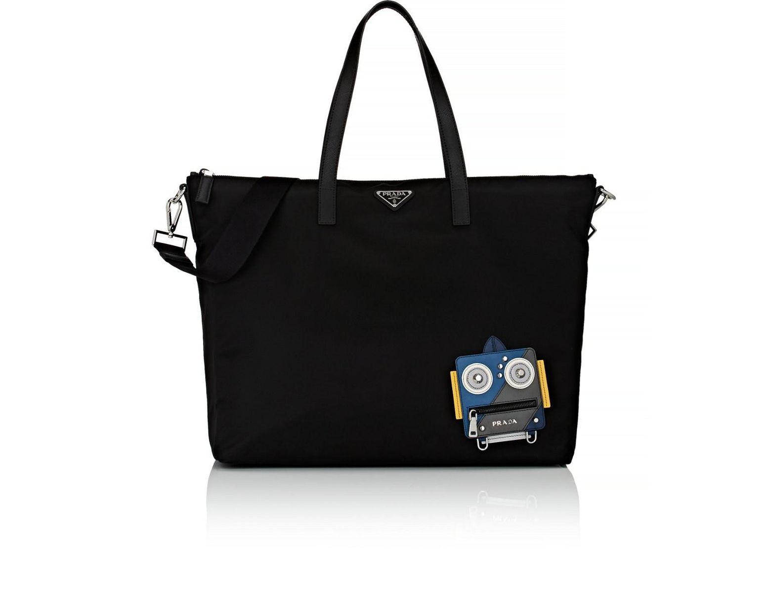 6267db0fac224c Prada Robot Tote Bag in Black for Men - Lyst